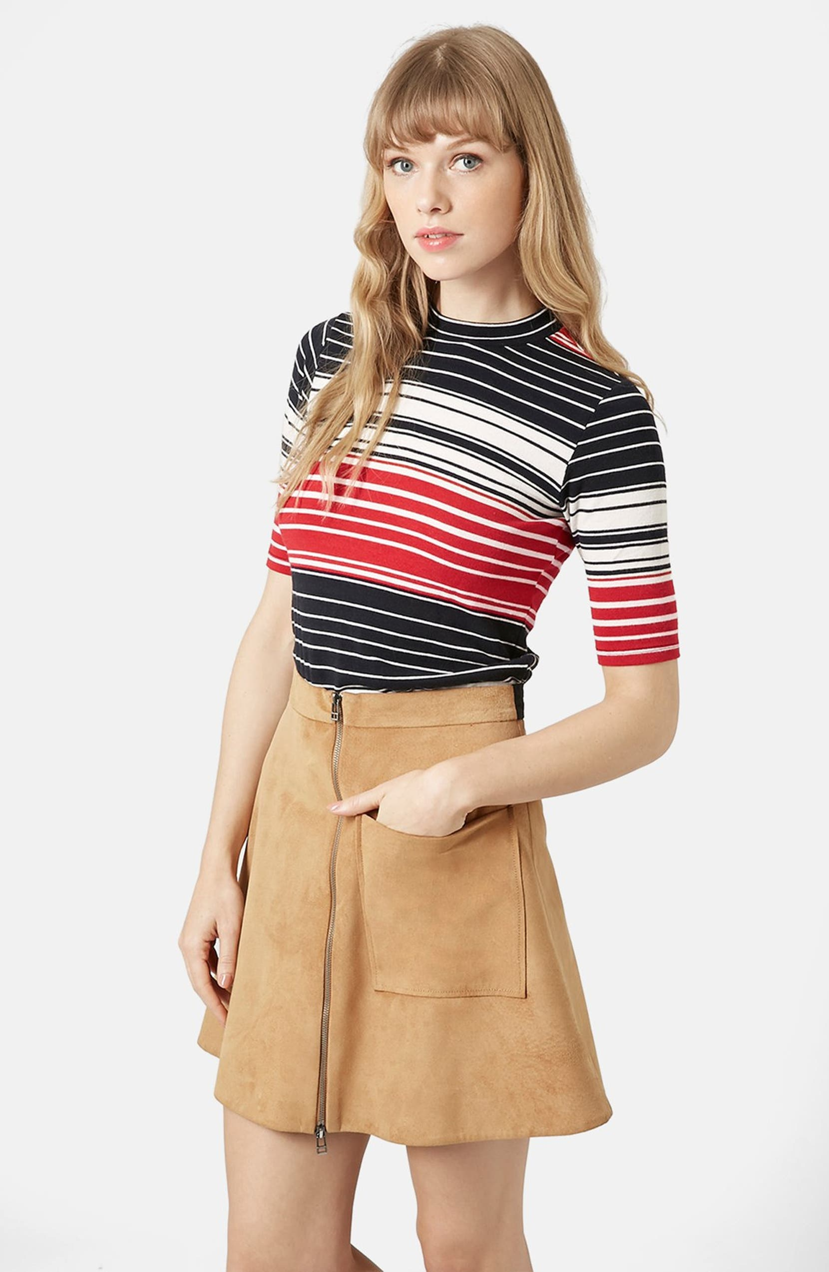 48a5b19b Topshop Stripe Funnel Neck Tee (Brit Pop-In) | Nordstrom