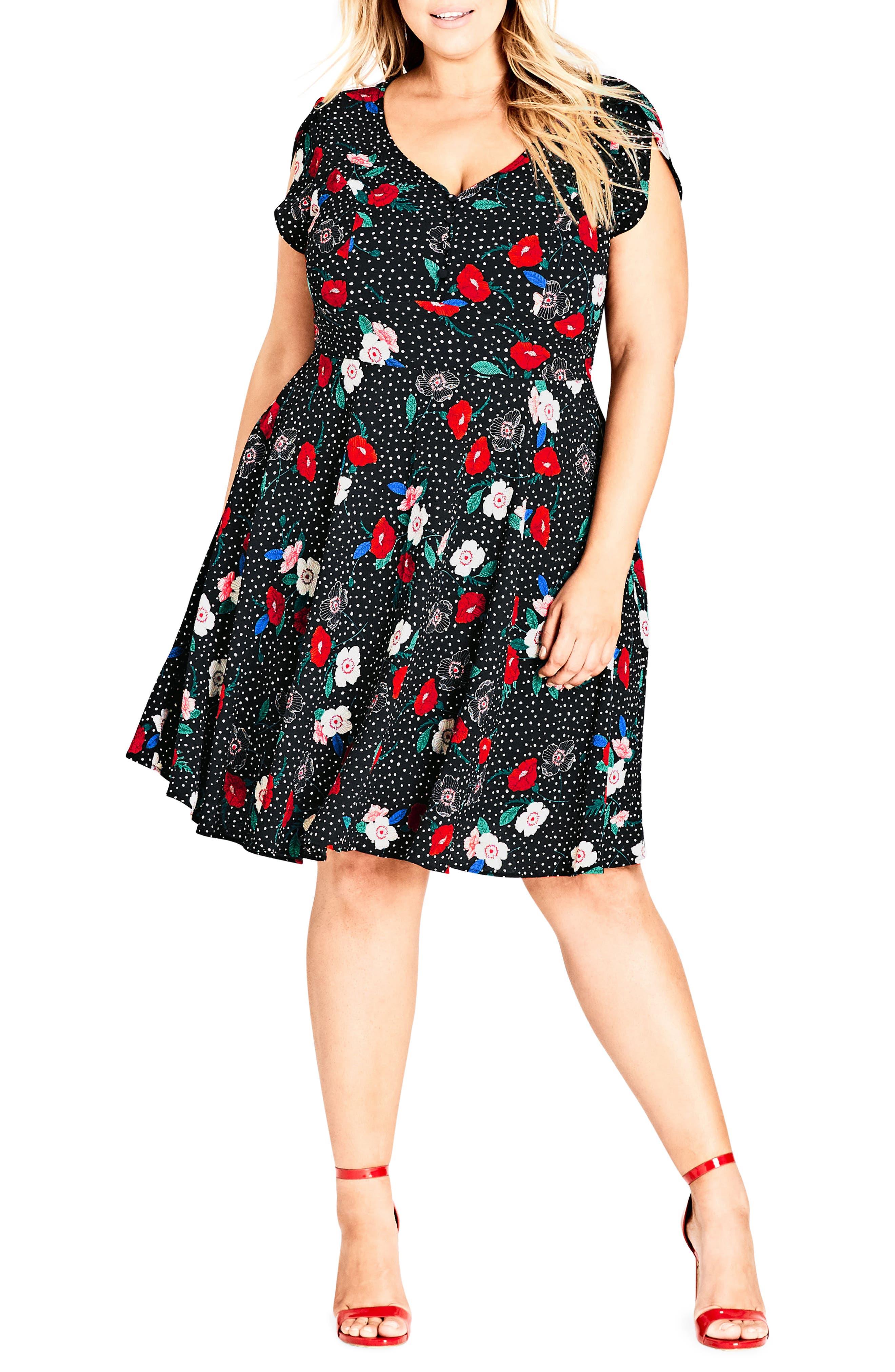 Plus Size City Chic Floral Spot Dress, Black