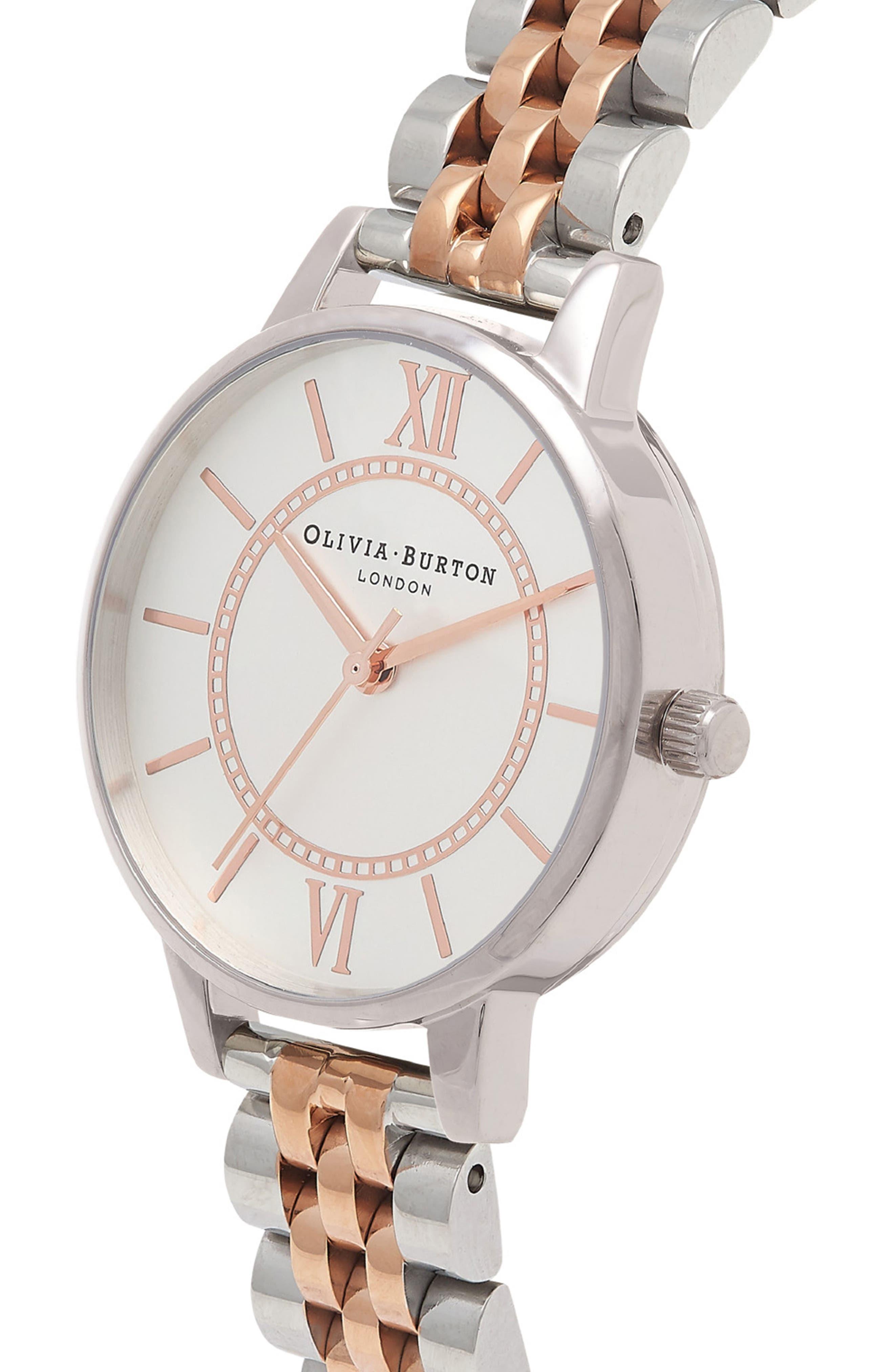OLIVIA BURTON, Wonderland Bracelet Watch, 30mm, Alternate thumbnail 4, color, ROSE GOLD/ SILVER