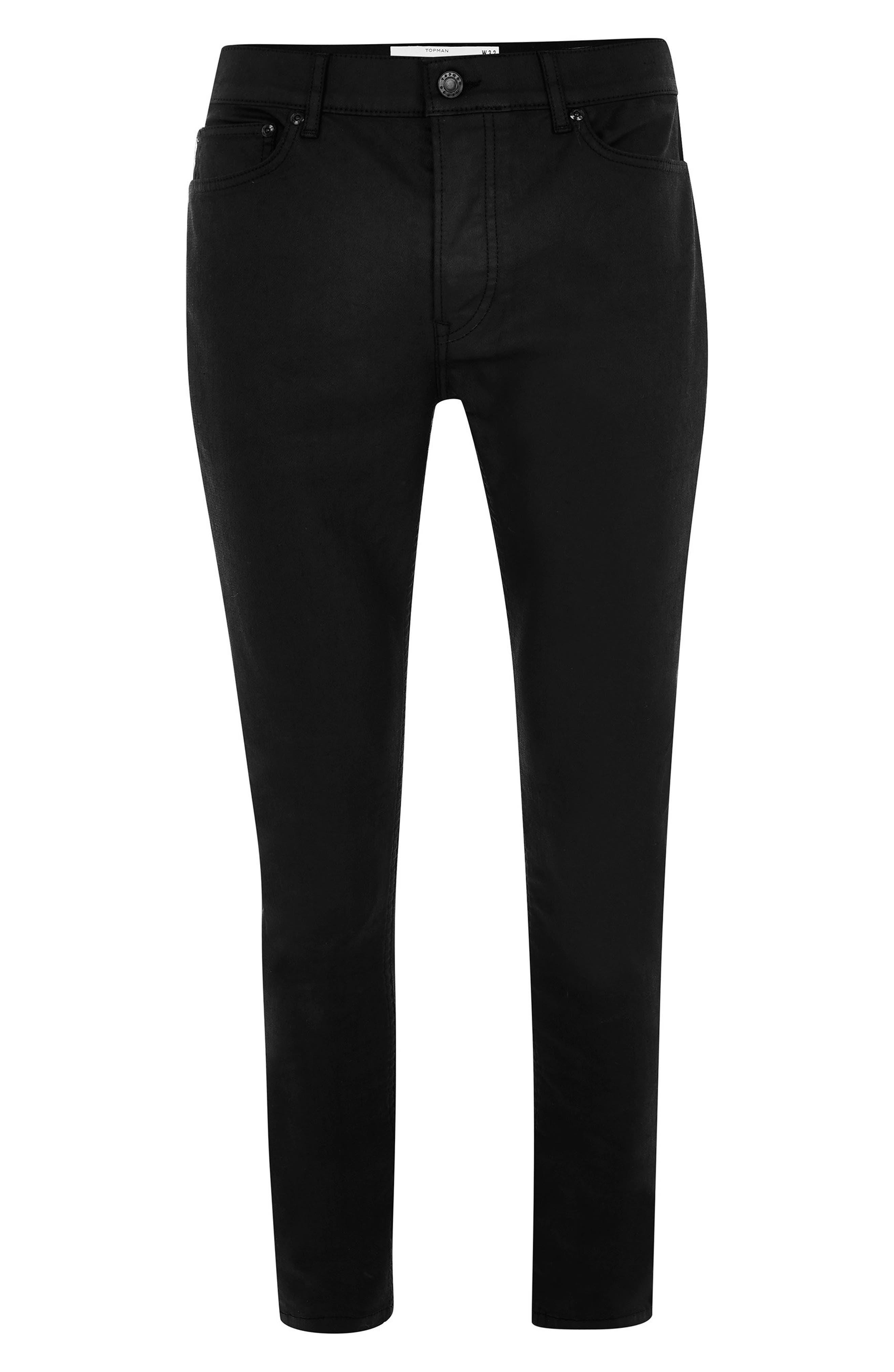 TOPMAN, Coated Denim Skinny Jeans, Alternate thumbnail 5, color, BLACK