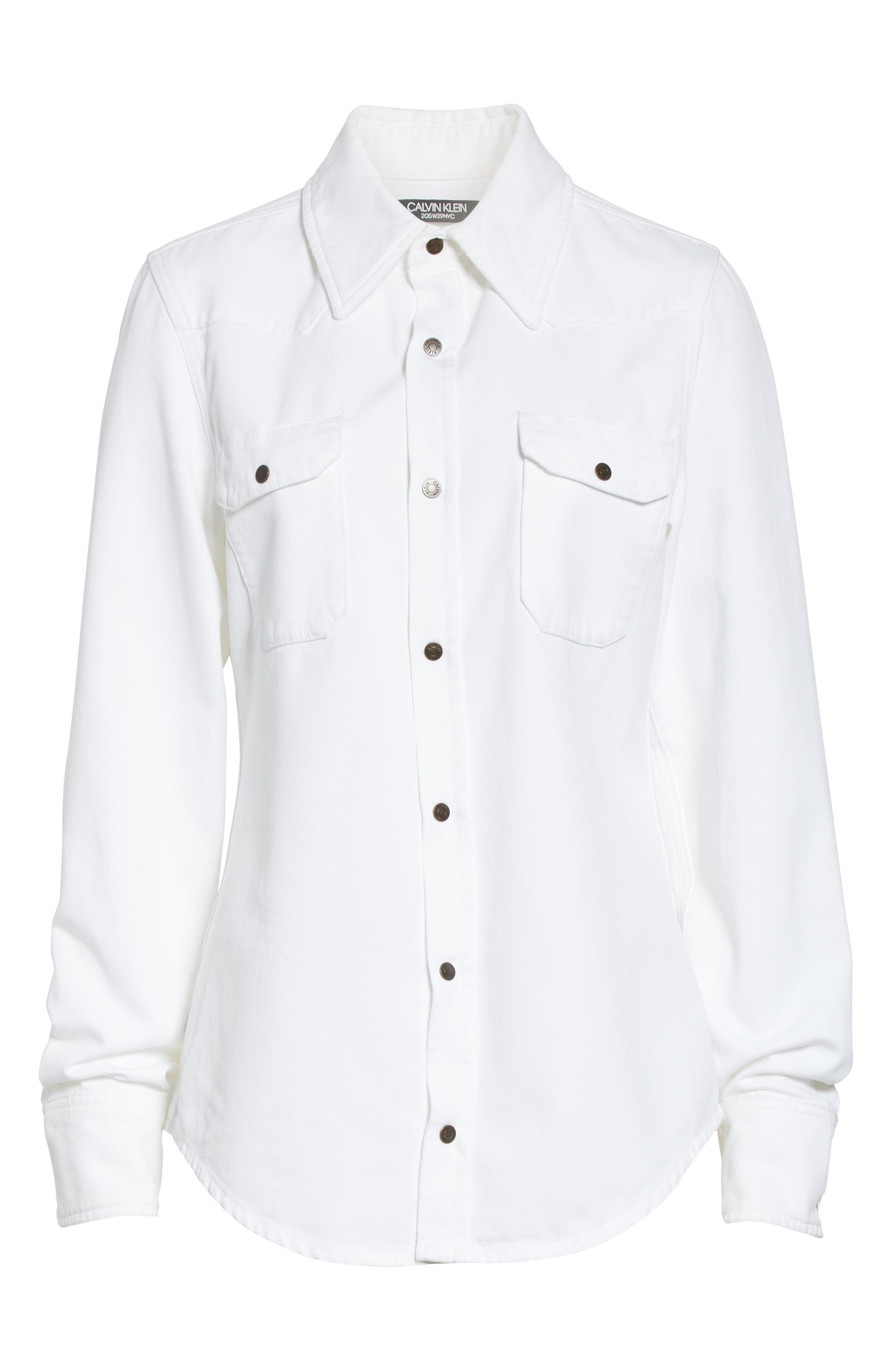CALVIN KLEIN 205W39NYC, Denim Shirt, Alternate thumbnail 7, color, OPTIC WHITE