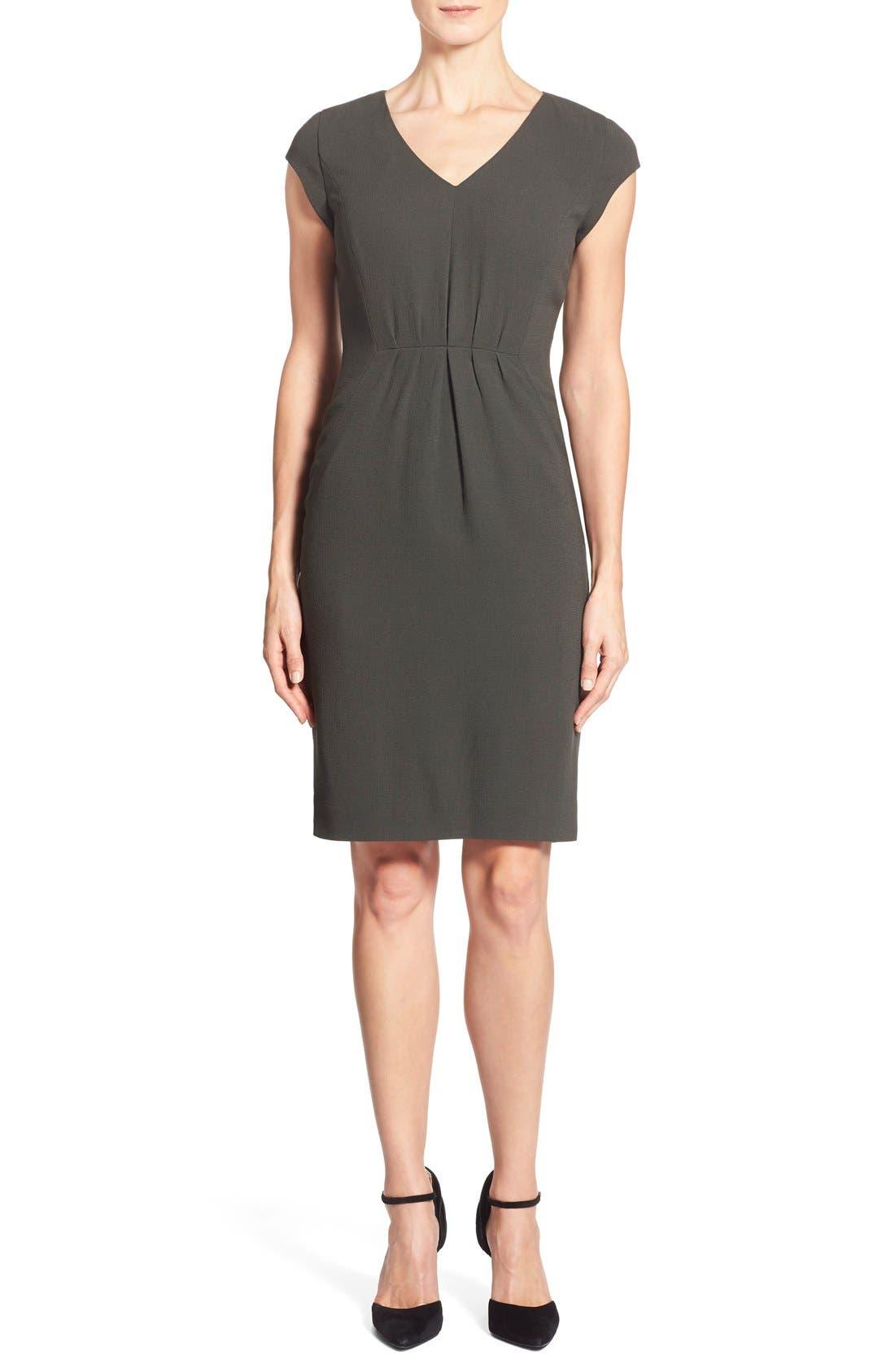 CLASSIQUES ENTIER<SUP>®</SUP>, V-Neck Double Cloth Sheath Dress, Main thumbnail 1, color, 301