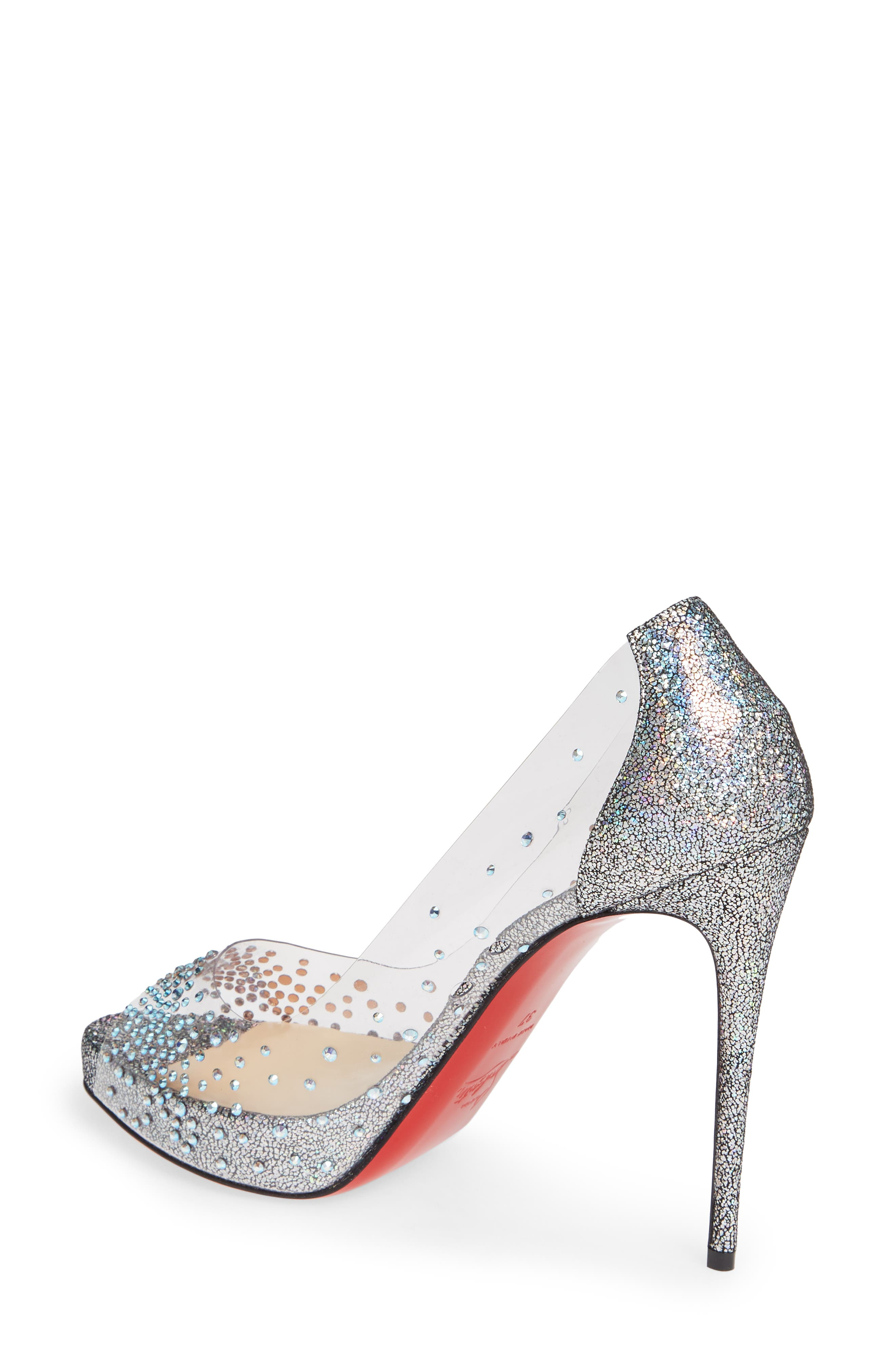 CHRISTIAN LOUBOUTIN, Very Strass Embellished Peep Toe Pump, Alternate thumbnail 2, color, SILVER