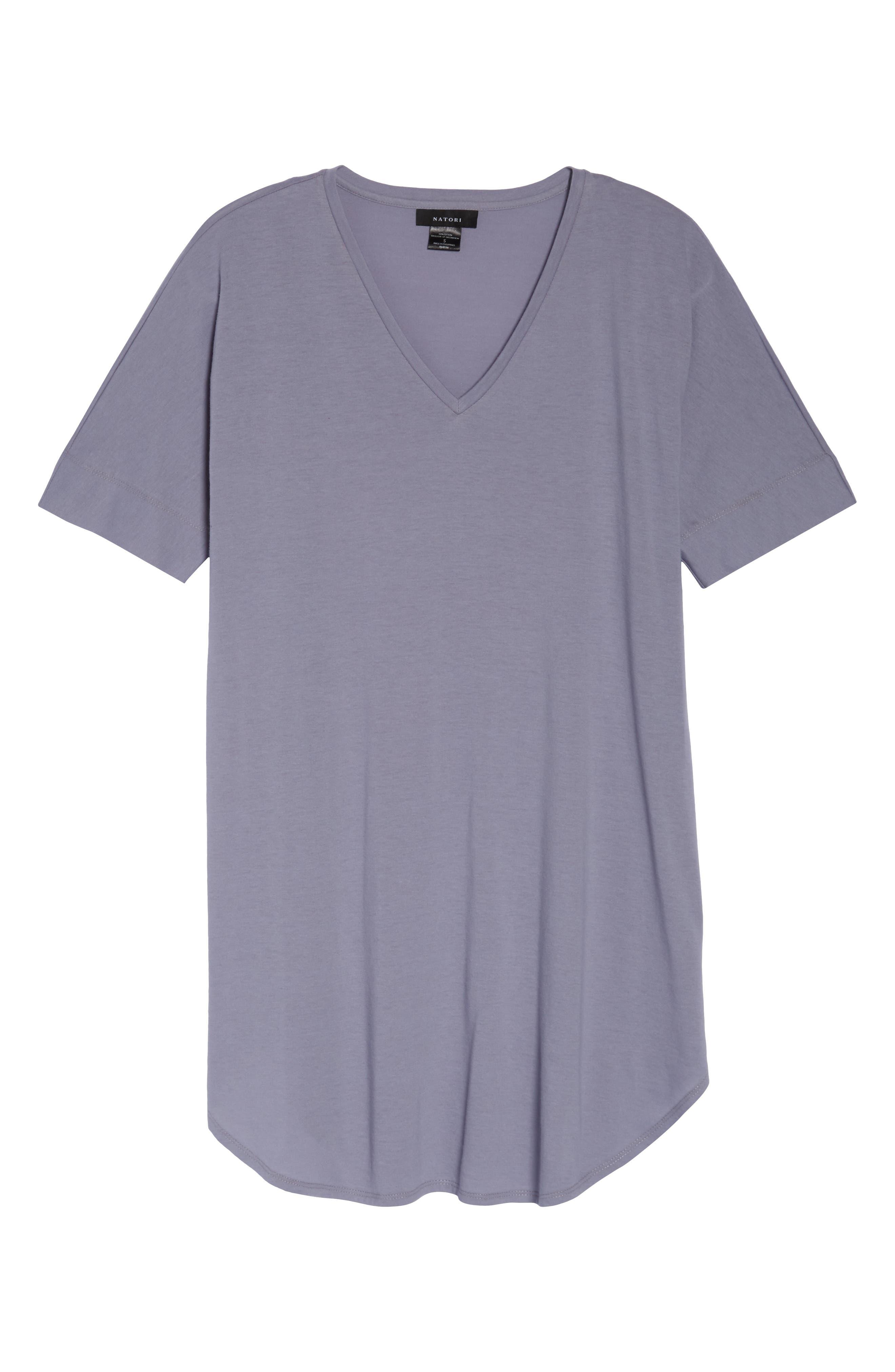 NATORI, V-Neck Sleep Shirt, Alternate thumbnail 6, color, SLATE BLUE