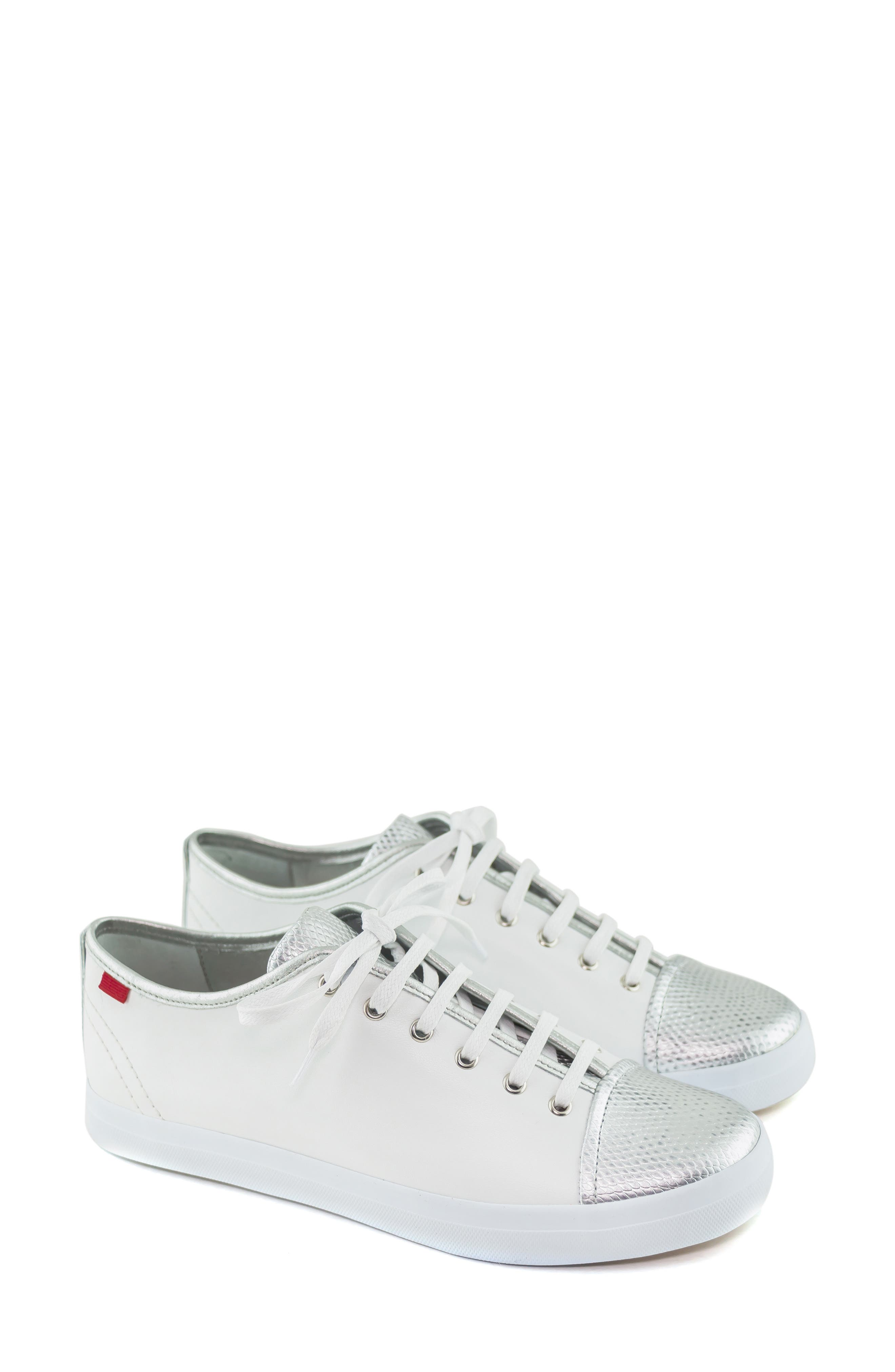 MARC JOSEPH NEW YORK, Bleecker Street Sneaker, Alternate thumbnail 7, color, WHITE/ GIPSY SILVER LEATHER