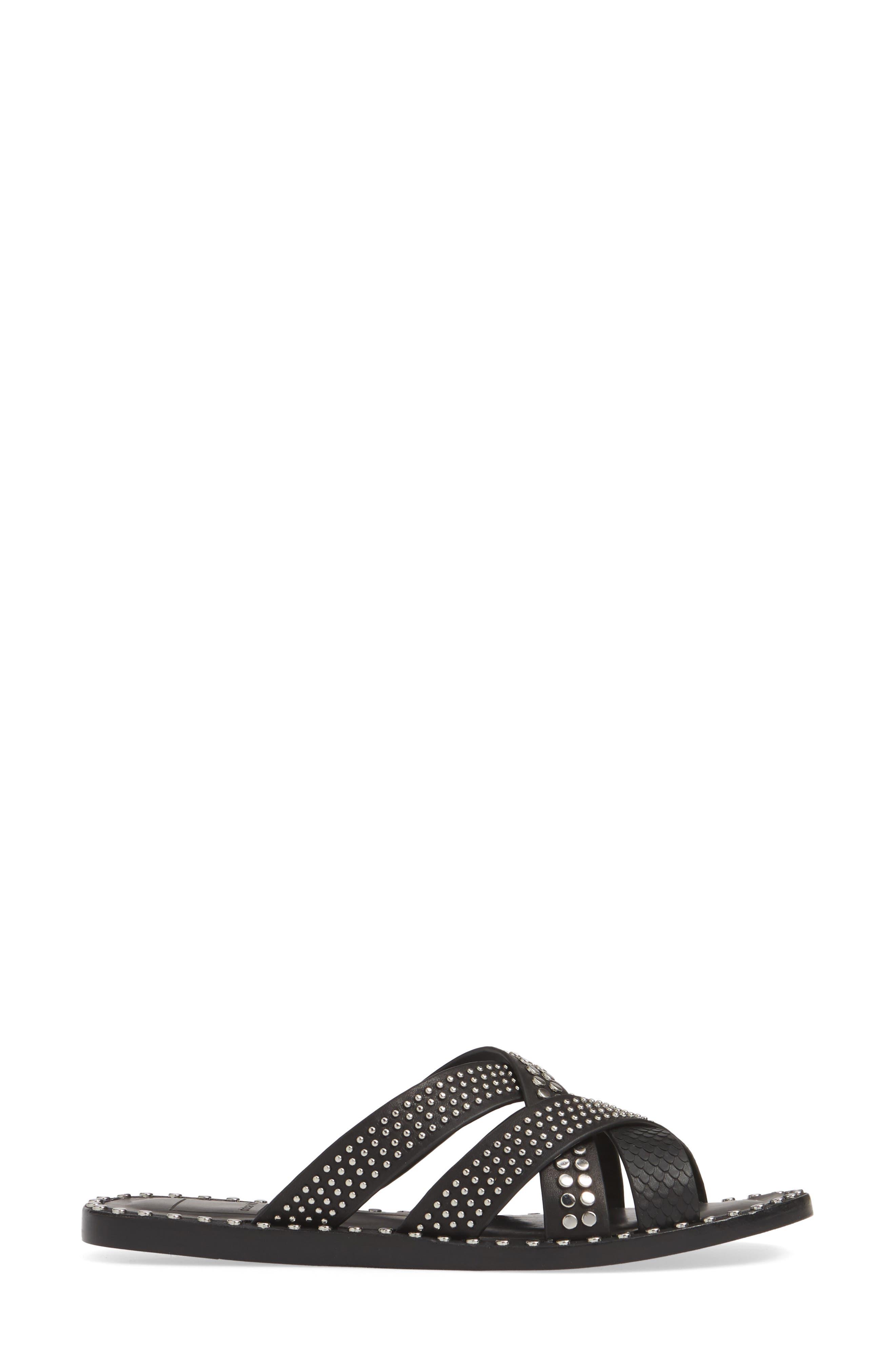 DOLCE VITA, Corbey Studded Slide Sandal, Alternate thumbnail 3, color, BLACK LEATHER