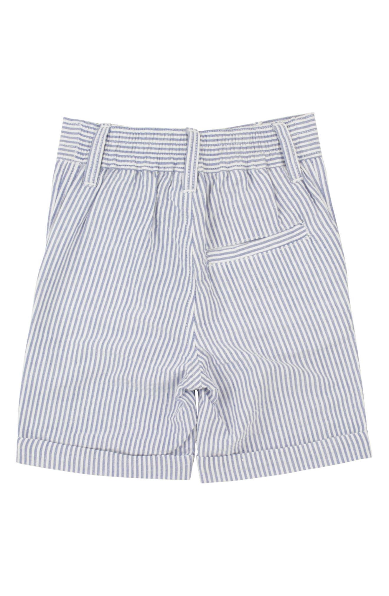 RUGGEDBUTTS, Seersucker Vest & Shorts Set, Alternate thumbnail 3, color, BLUE