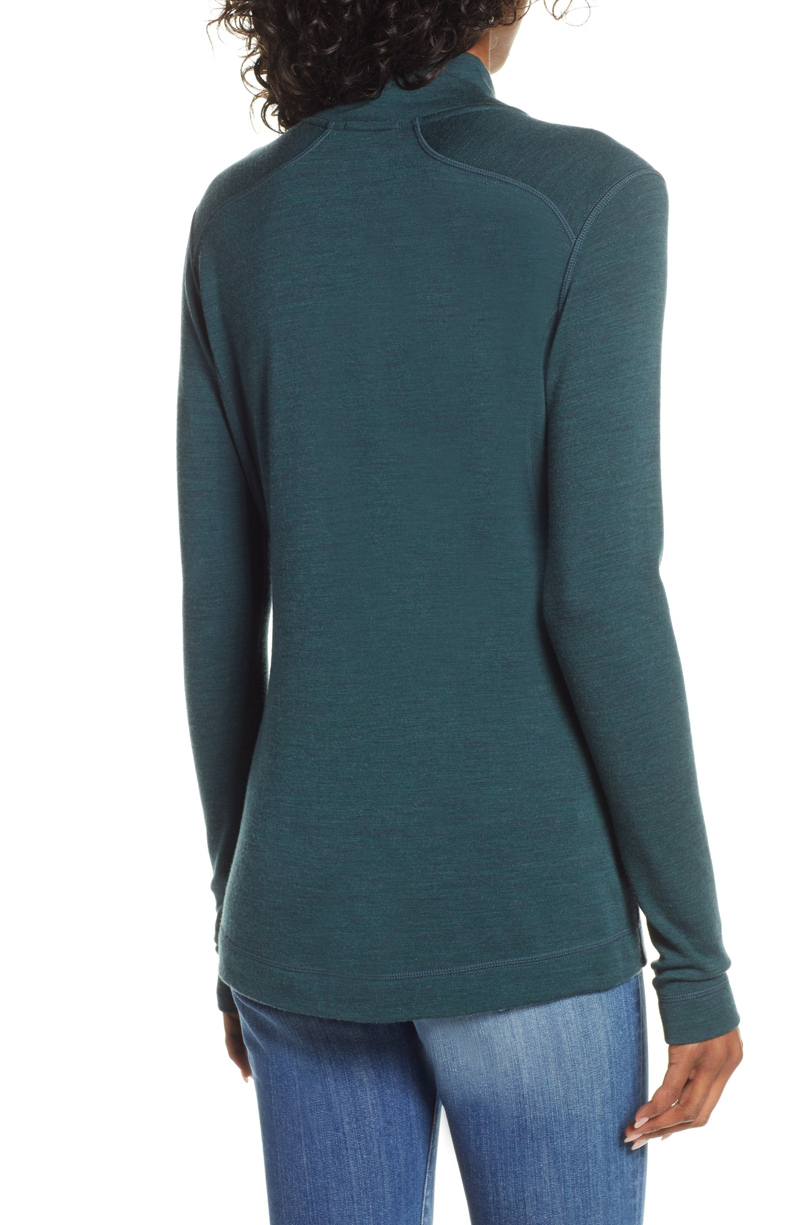 SMARTWOOL, Merino 250 Quarter Zip Base Layer Top, Alternate thumbnail 2, color, LOCHNESS HEATHER