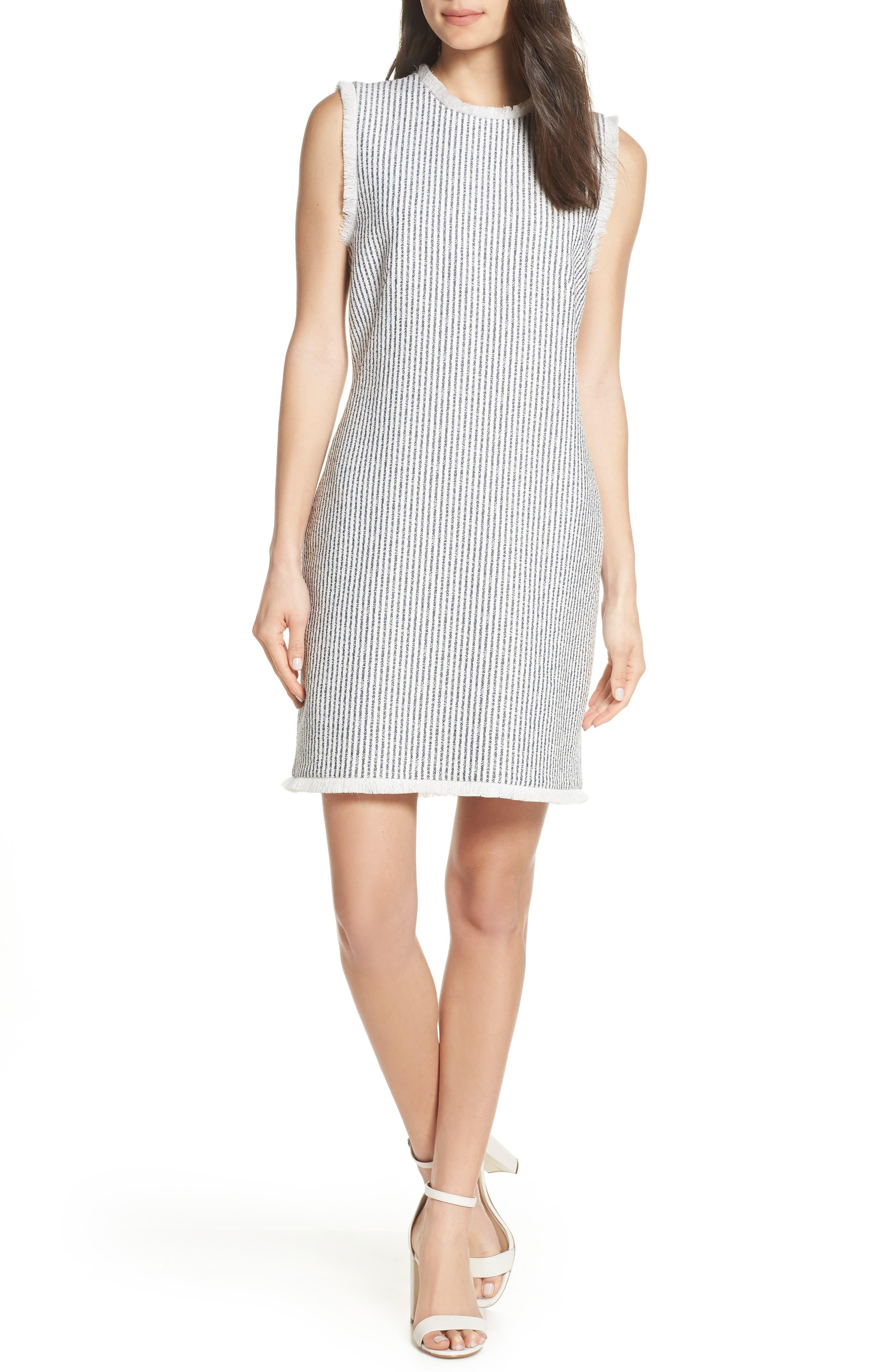 CHARLES HENRY, Fringe Trim Stripe Shift Dress, Main thumbnail 1, color, NAVY WHITE STRIPE