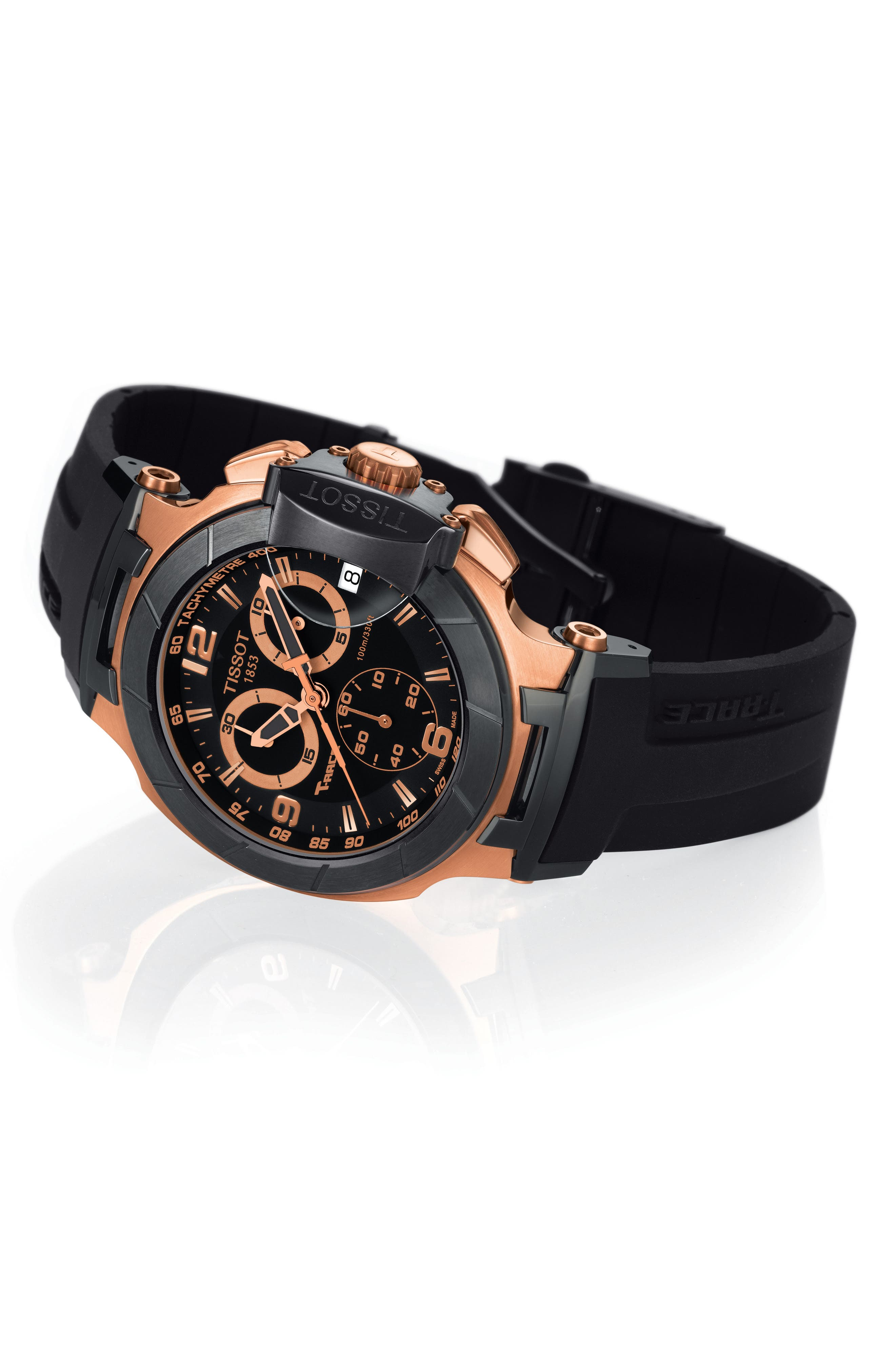 TISSOT, T-Race Chronograph Silicone Strap Watch, 50mm, Alternate thumbnail 5, color, BLACK/ ROSE GOLD