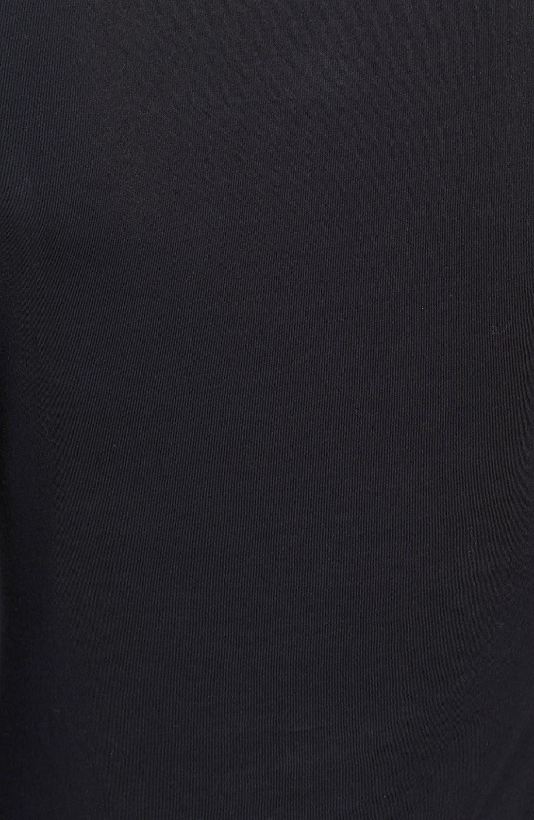 VINCE, 'Favorite' Soft Cotton Turtleneck, Alternate thumbnail 6, color, 001
