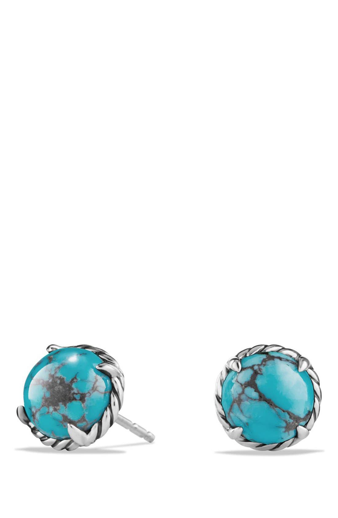 DAVID YURMAN, 'Châtelaine' Earrings, Main thumbnail 1, color, SILVER/ CHINESE TURQUOISE