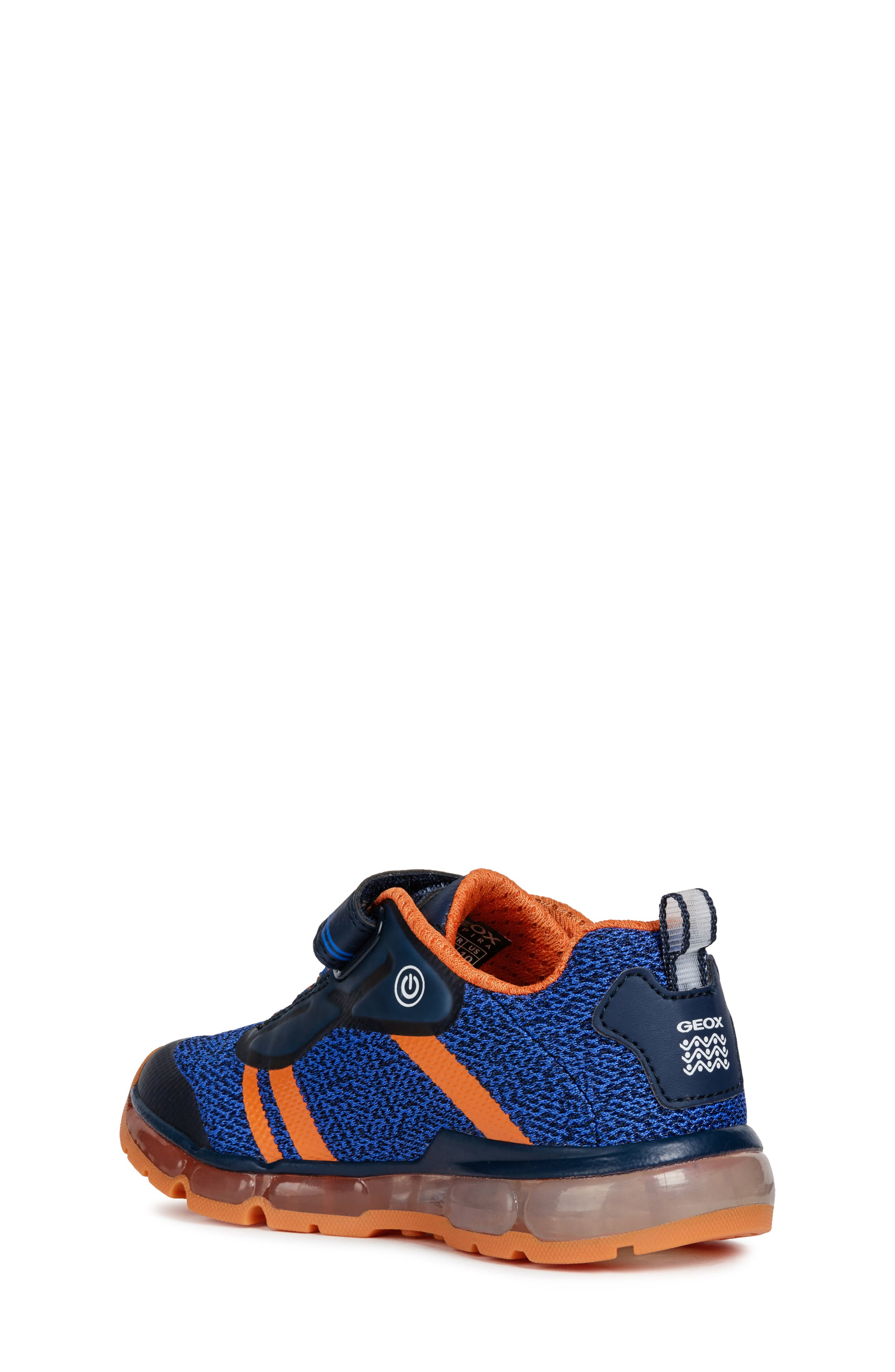 GEOX, Android 19 Light-Up Sneaker, Alternate thumbnail 2, color, NAVY/ ORANGE