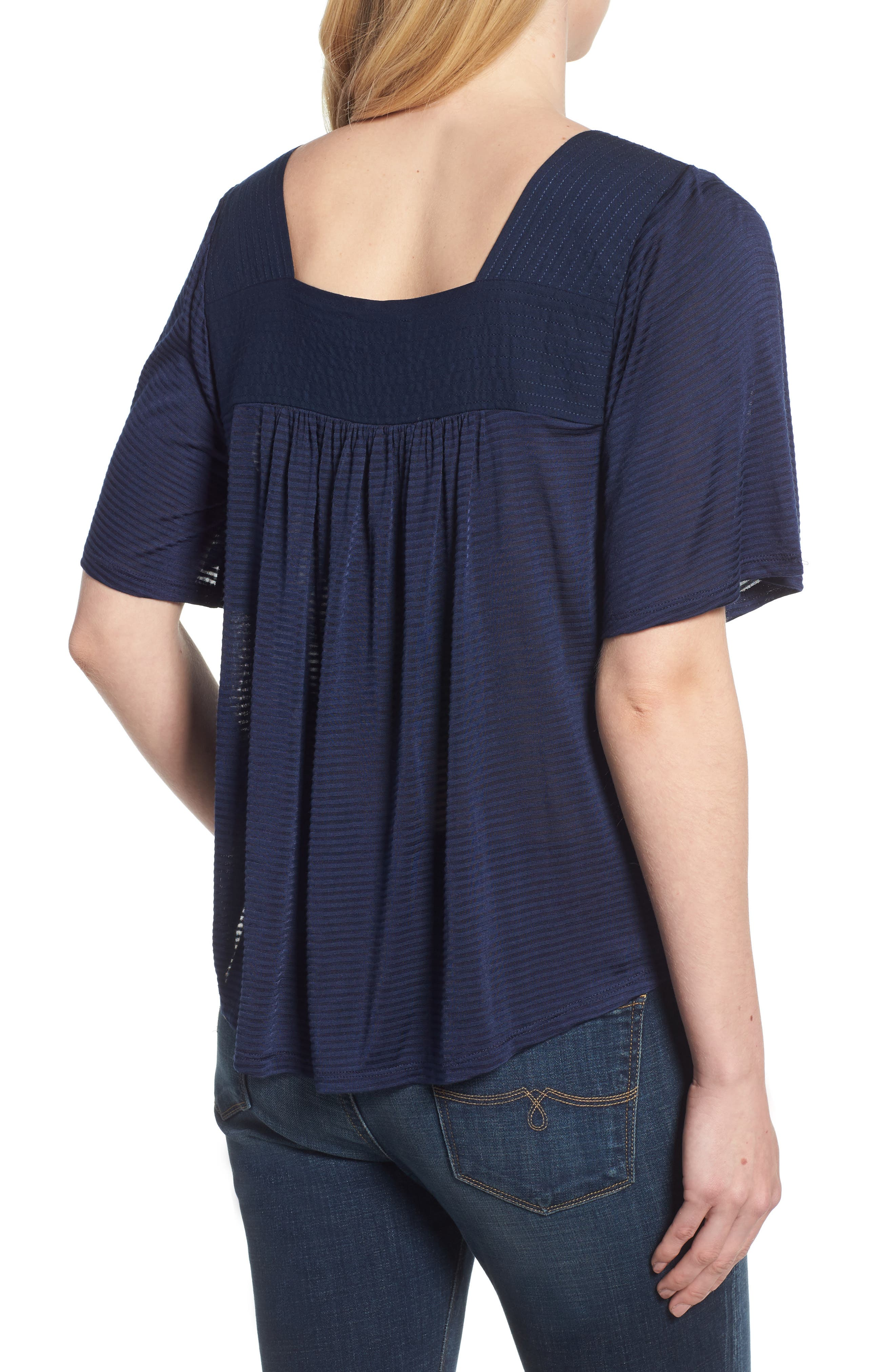 LUCKY BRAND, Shadow Stripe Peasant Top, Alternate thumbnail 2, color, AMERICAN NAVY