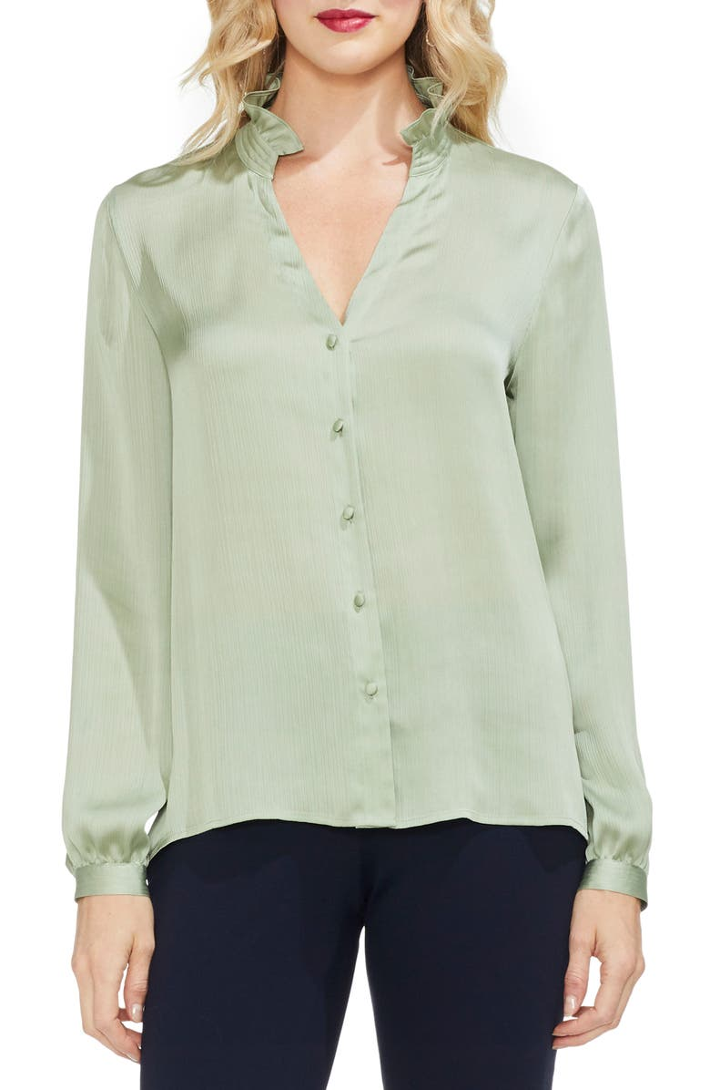 617cd77c2adcbf Vince Camuto Ruffle Neck Button Front Top (Regular & Petite)   Nordstrom