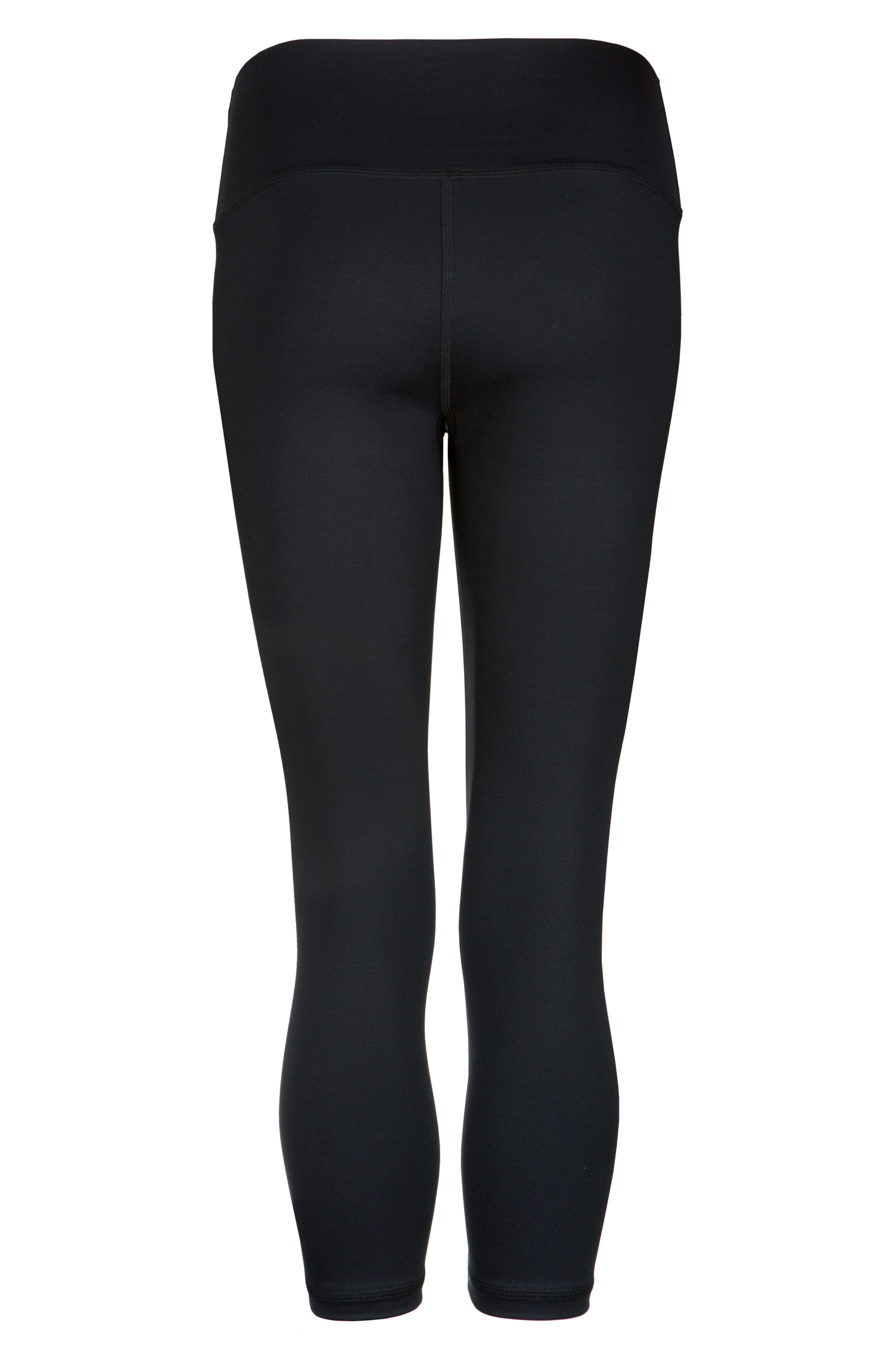 LIVELY, The Active High Waist Crop Leggings, Alternate thumbnail 2, color, JET BLACK