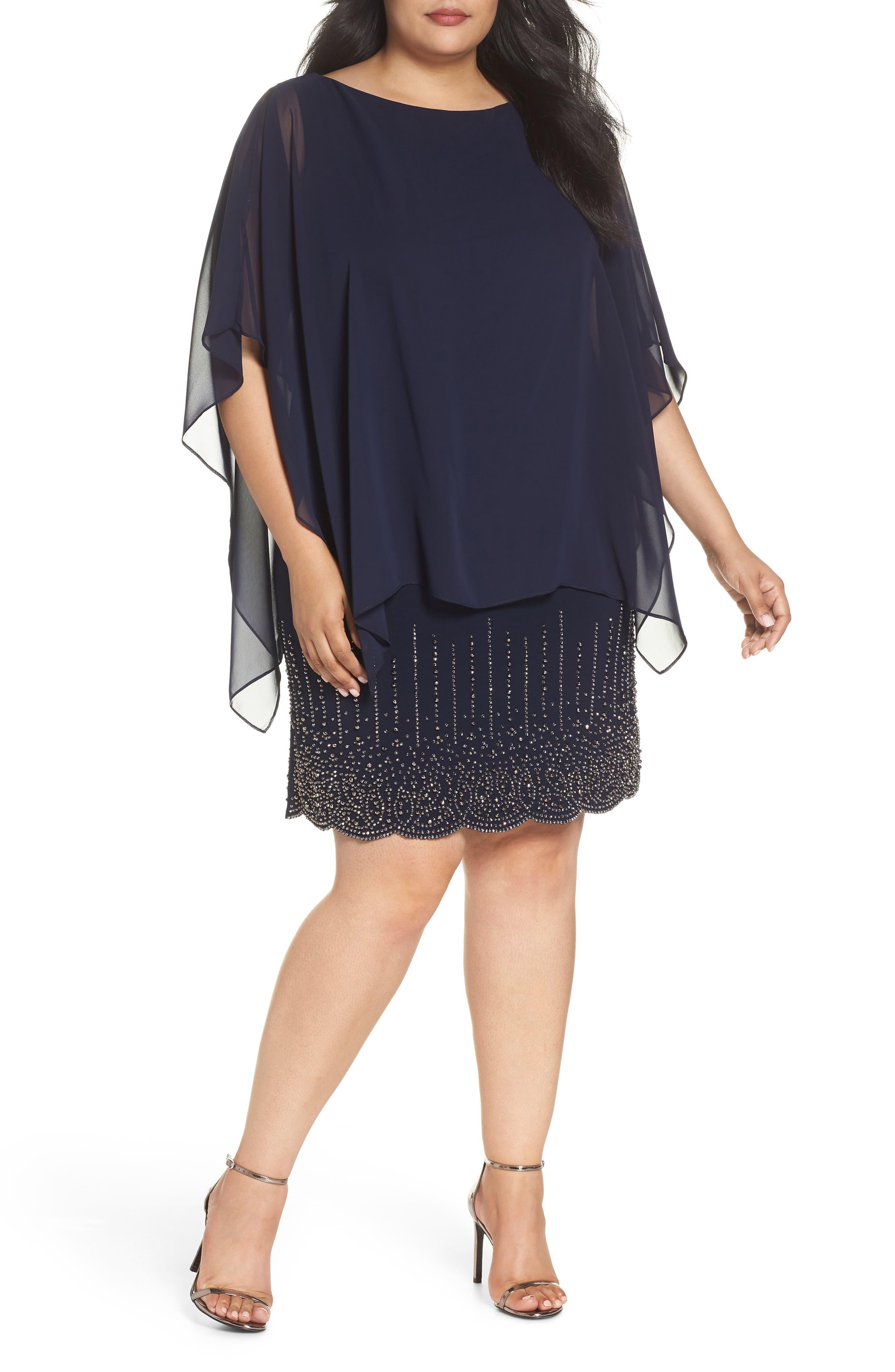 XSCAPE Beaded Bottom Chiffon Minidress, Main, color, 498