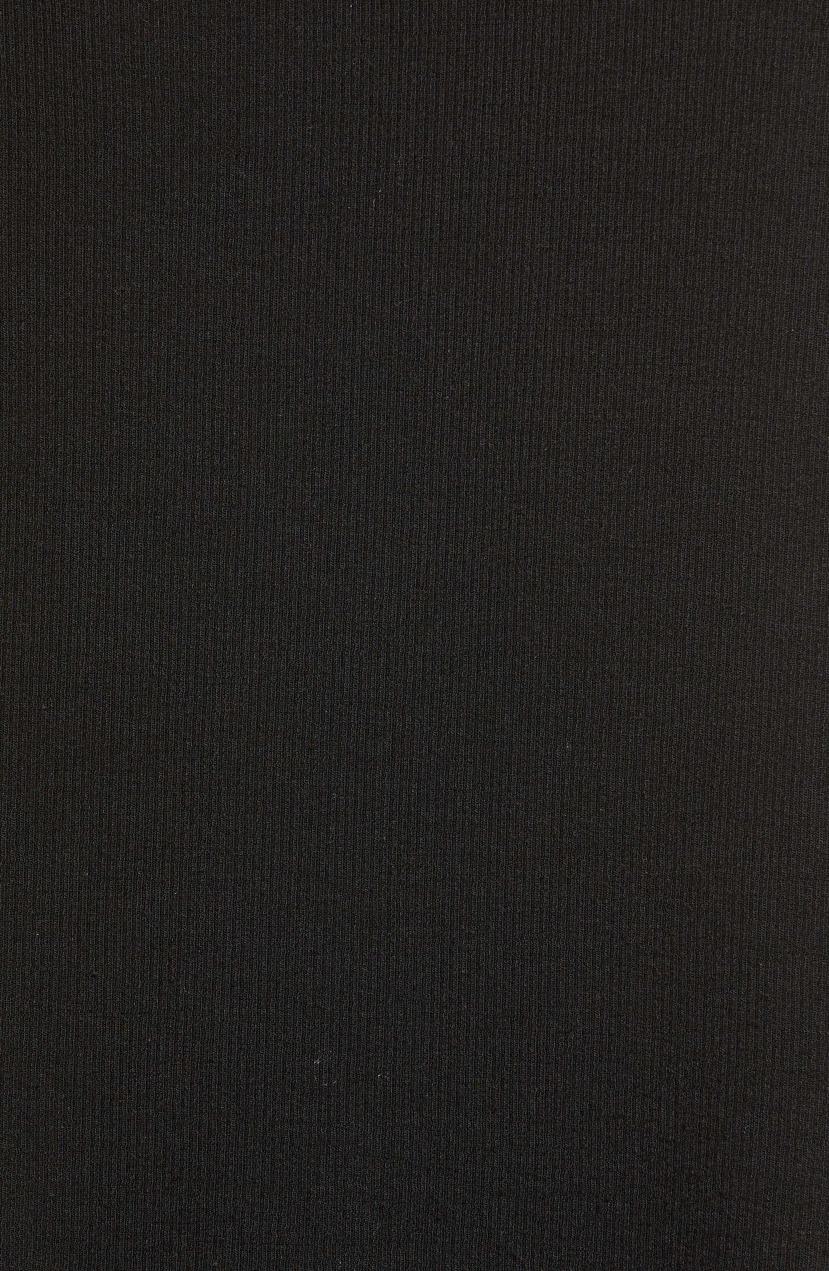 SPLENDID, Ribbed Mock Neck Crop Top, Alternate thumbnail 5, color, BLACK