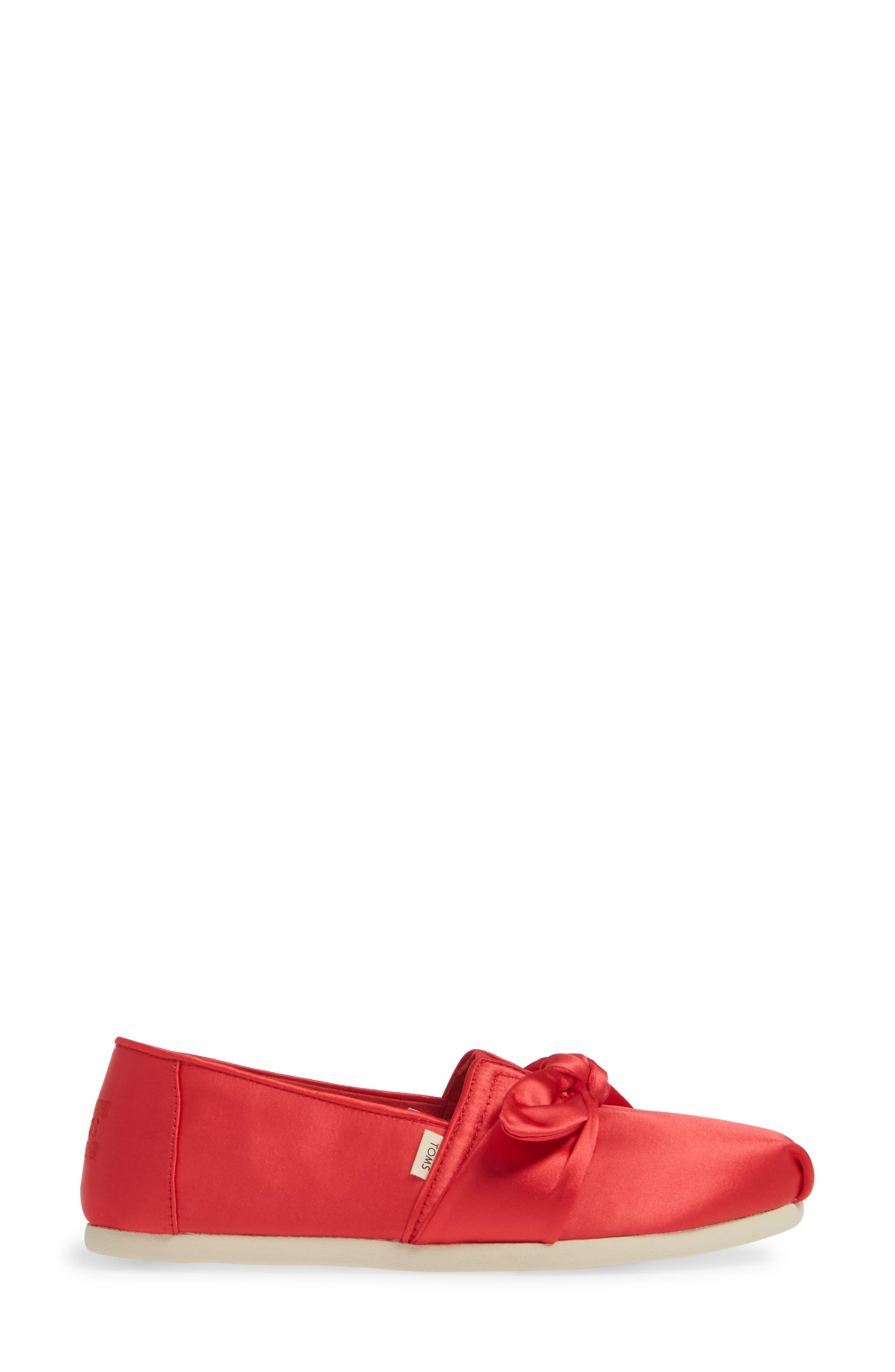 TOMS, Alpargata Bow Slip-On, Alternate thumbnail 3, color, RED LAVA FABRIC