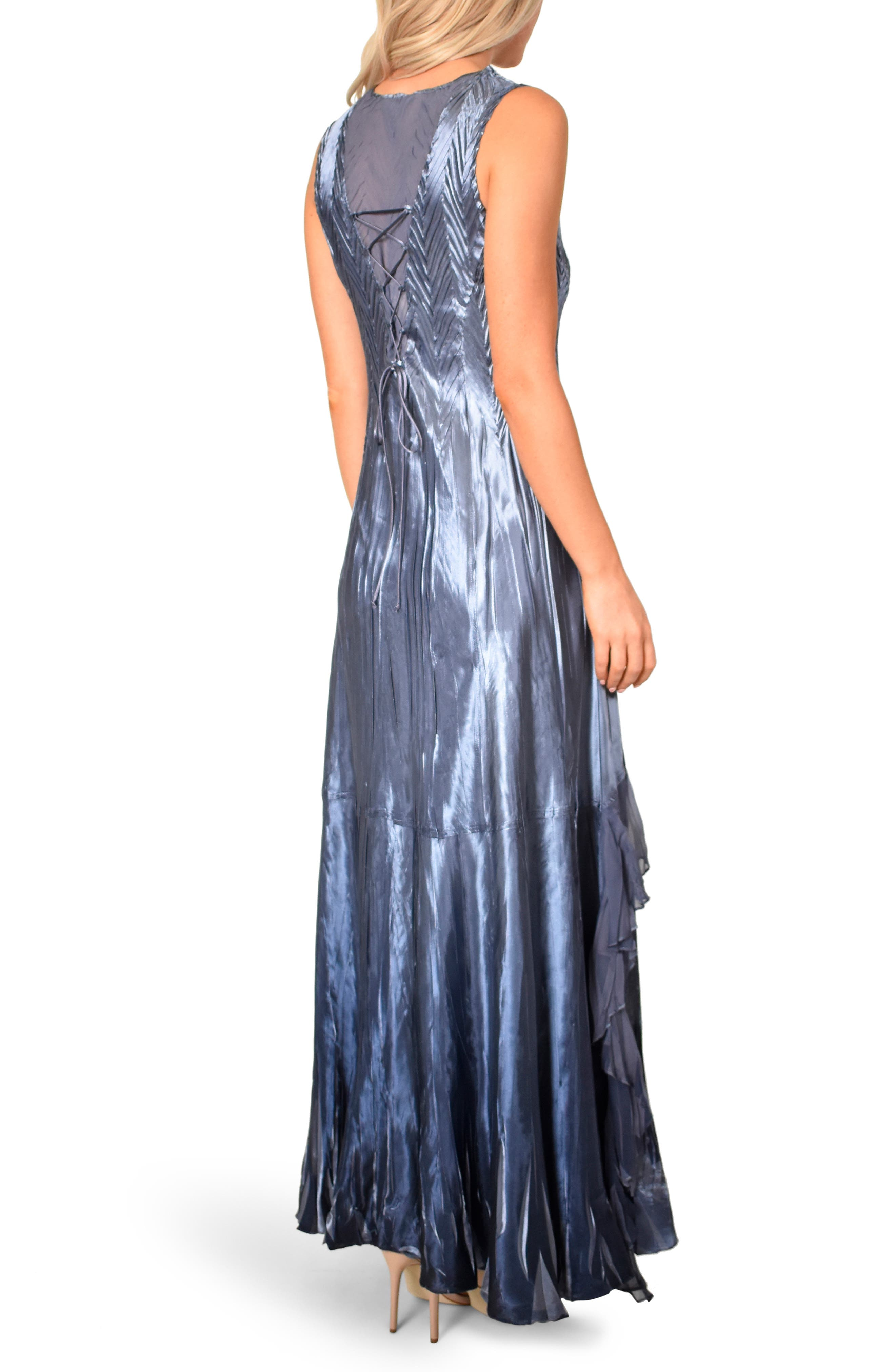 KOMAROV, Beaded V-Neck Charmeuse & Chiffon Evening Dress with Wrap, Alternate thumbnail 2, color, PURPLE SAGE BLUE OMBRE