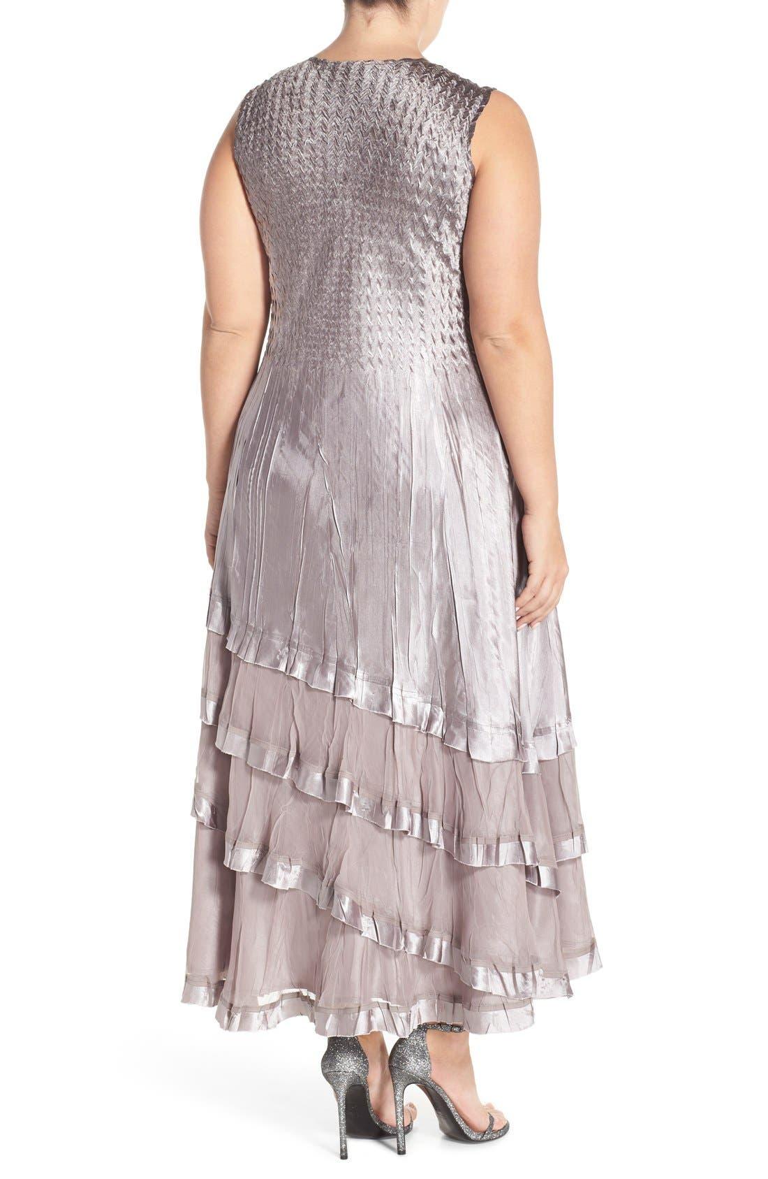 KOMAROV, Charmeuse Tiered Hem Dress with Chiffon Jacket, Alternate thumbnail 7, color, OYSTER SMOKE OMBRE