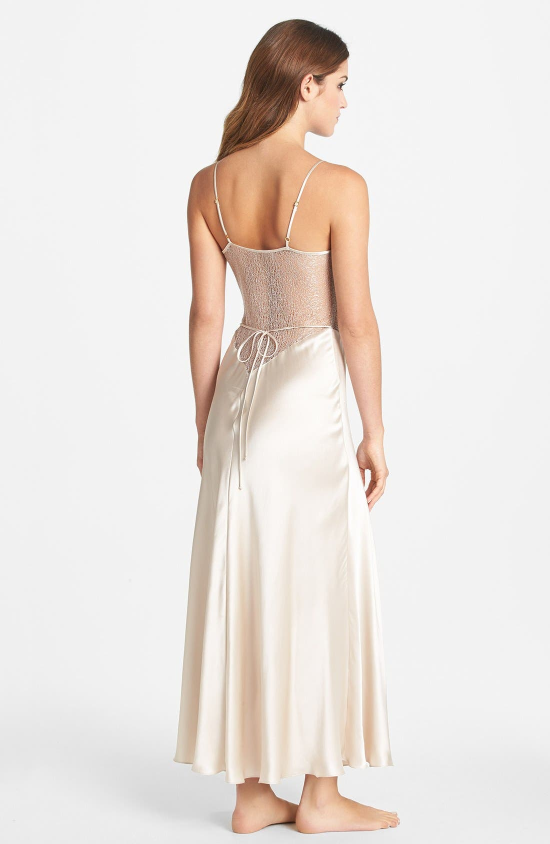 FLORA NIKROOZ, Showstopper Nightgown, Alternate thumbnail 7, color, CHAMPAGNE
