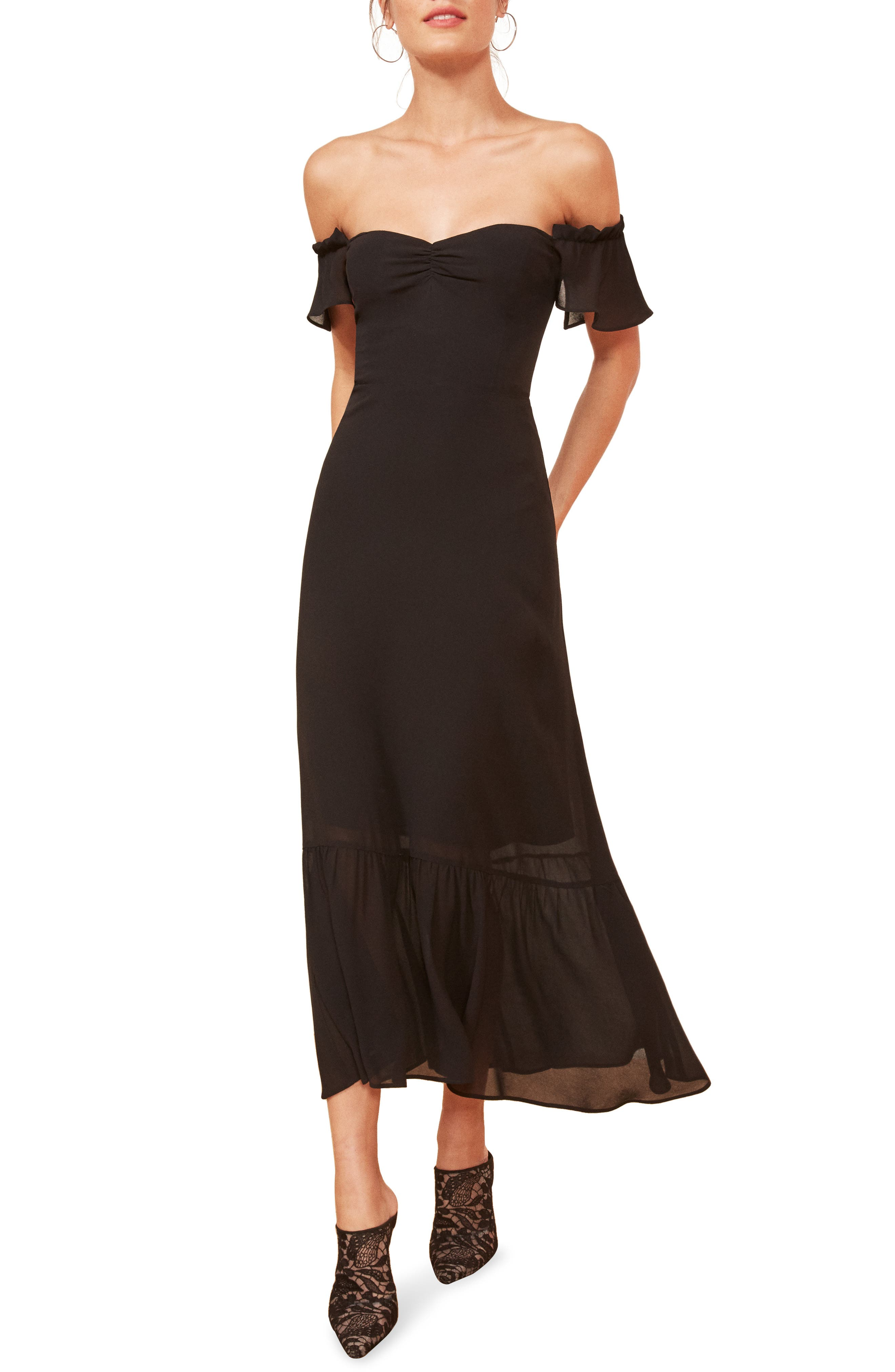 REFORMATION, Butterfly Midi Dress, Main thumbnail 1, color, BLACK