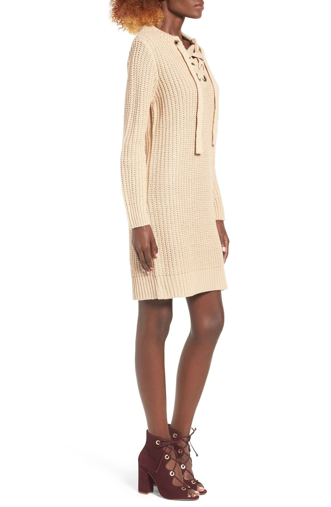 MOON RIVER, Lace-Up Sweater Dress, Alternate thumbnail 7, color, 230
