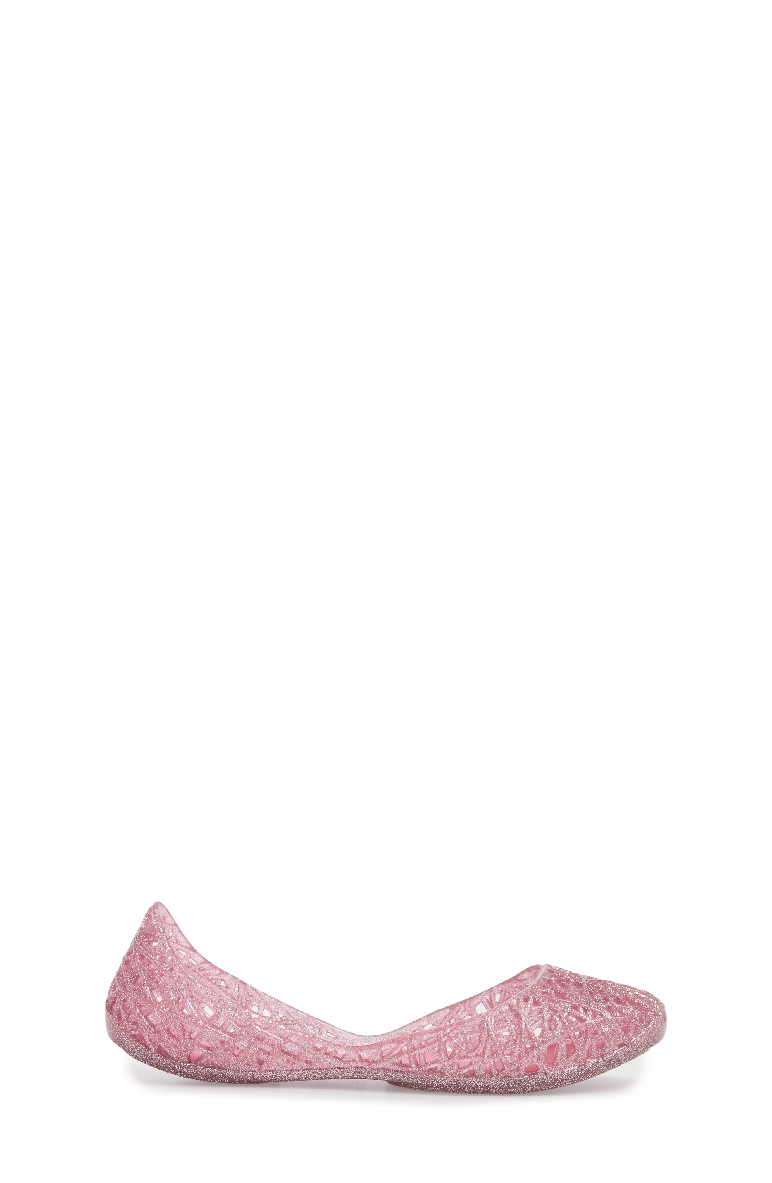 MEL BY MELISSA, 'Campana Zig Zag' Flat, Alternate thumbnail 3, color, PINK CANDY GLITTER