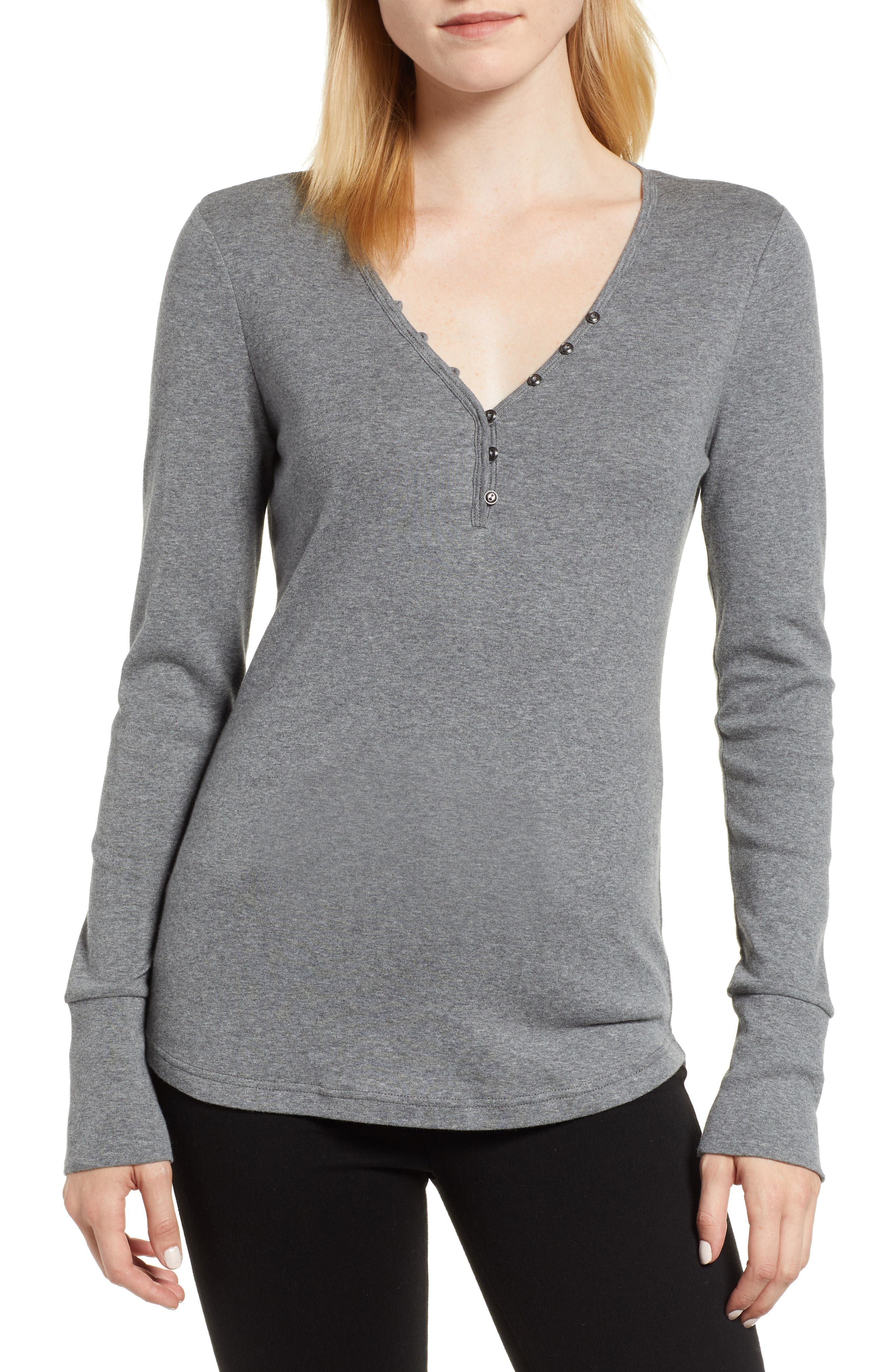 CASLON<SUP>®</SUP>, V-Neck Henley, Main thumbnail 1, color, 020