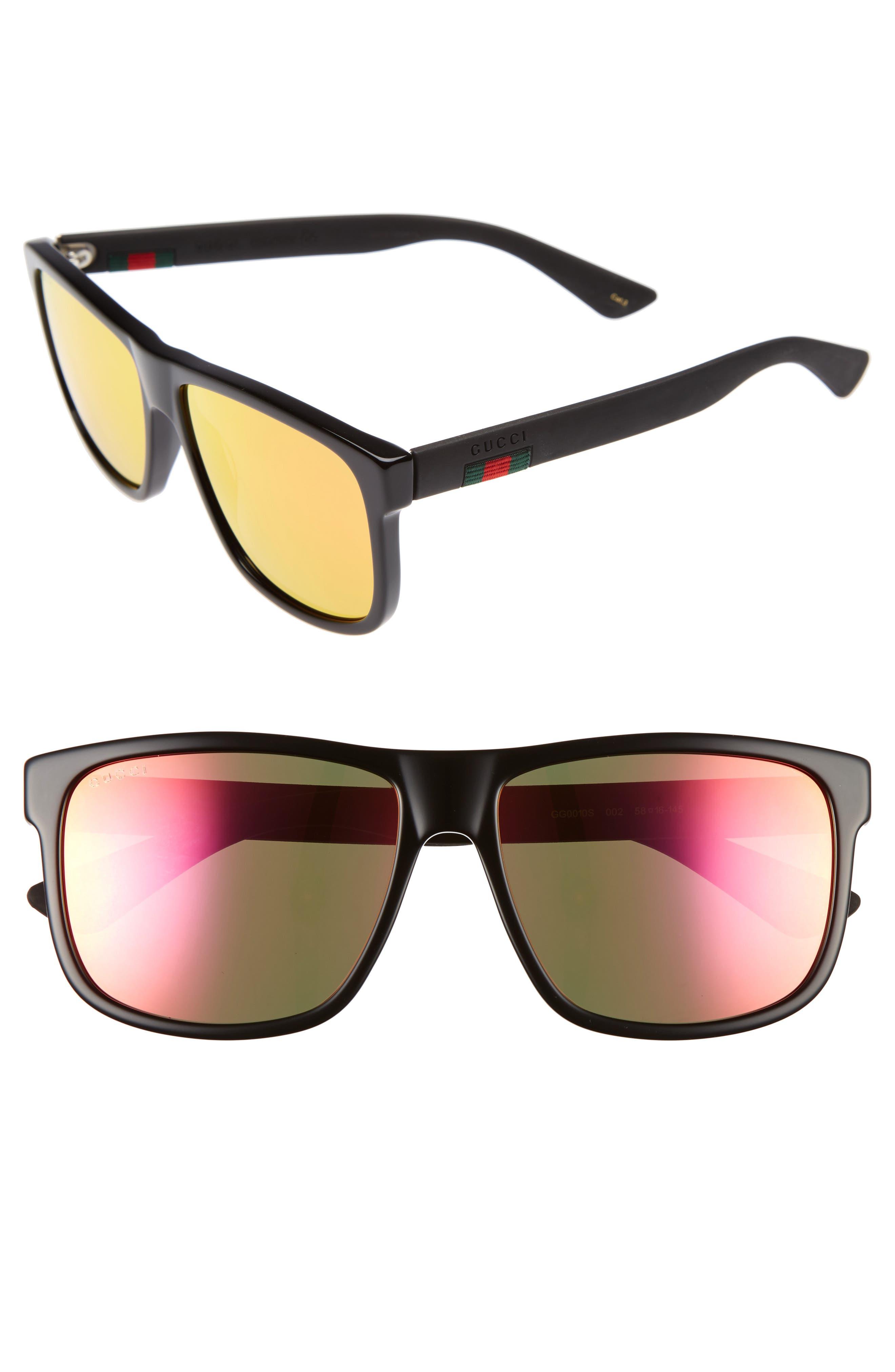 GUCCI 58mm Sunglasses, Main, color, BLACK W/ RED MIRROR LENS