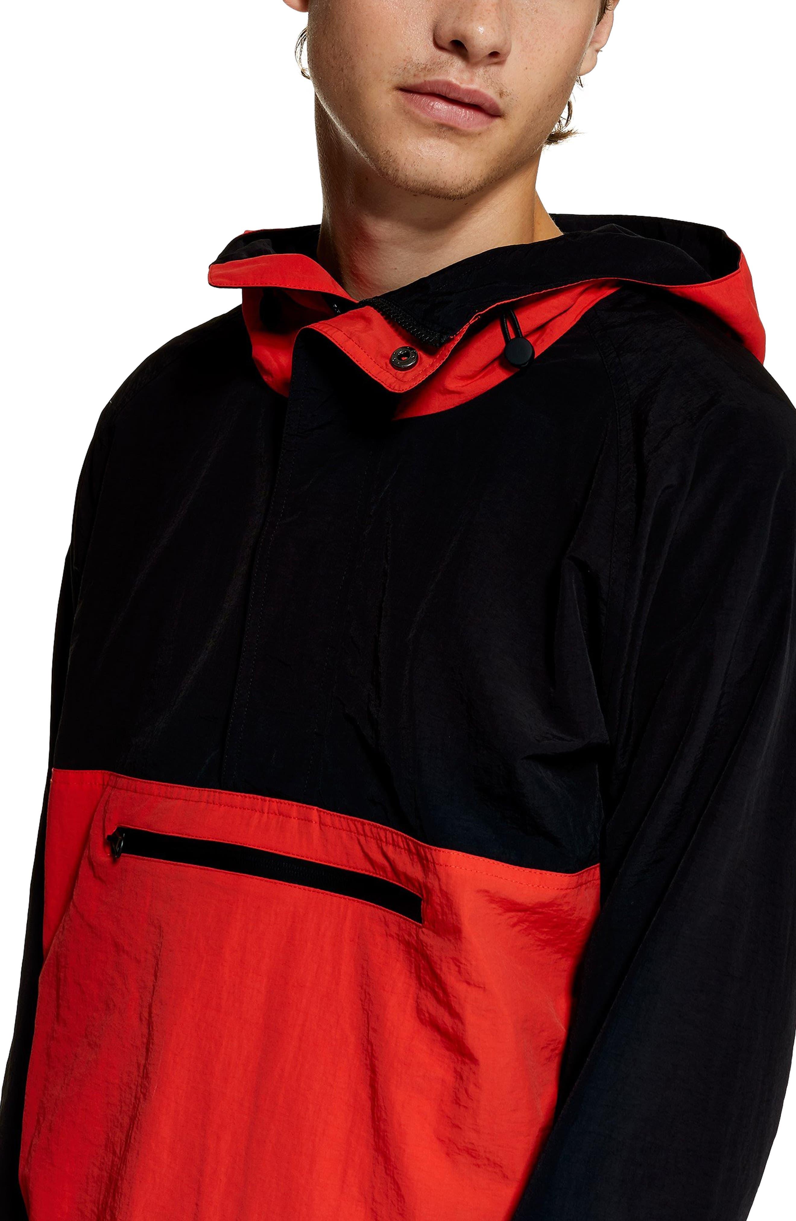 TOPMAN, Hooded Quarter Zip Windbreaker, Alternate thumbnail 5, color, RED MULTI