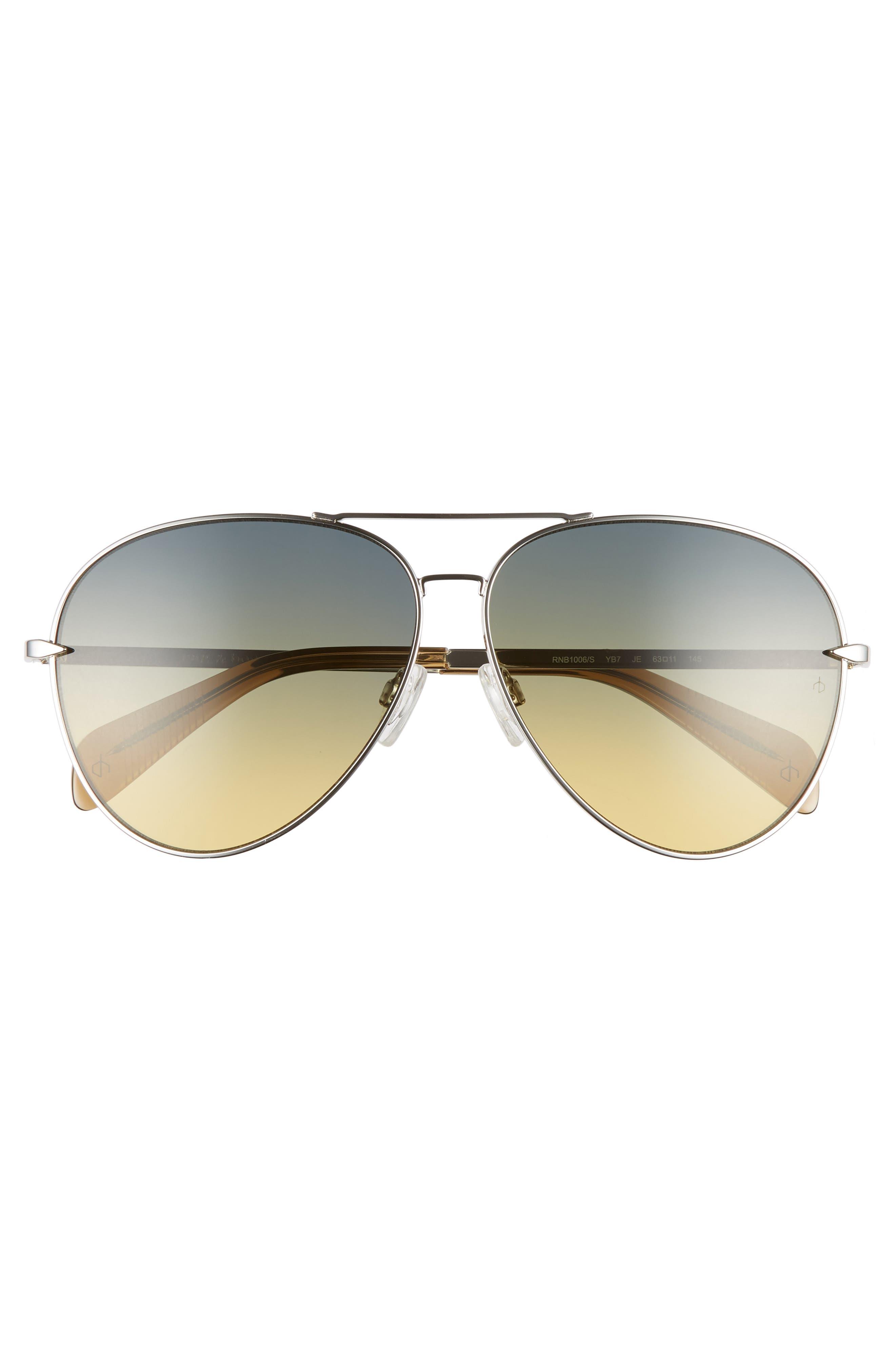 RAG & BONE, 63mm Oversize Aviator Sunglasses, Alternate thumbnail 3, color, SILVER