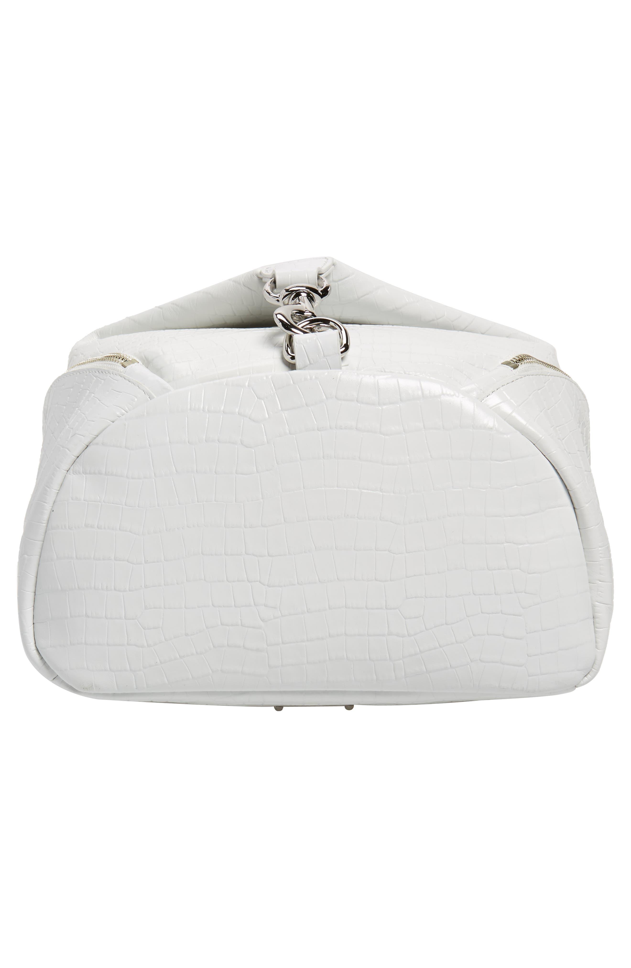 REBECCA MINKOFF, Julian Croc Embossed Leather Backpack, Alternate thumbnail 6, color, OPTIC WHITE