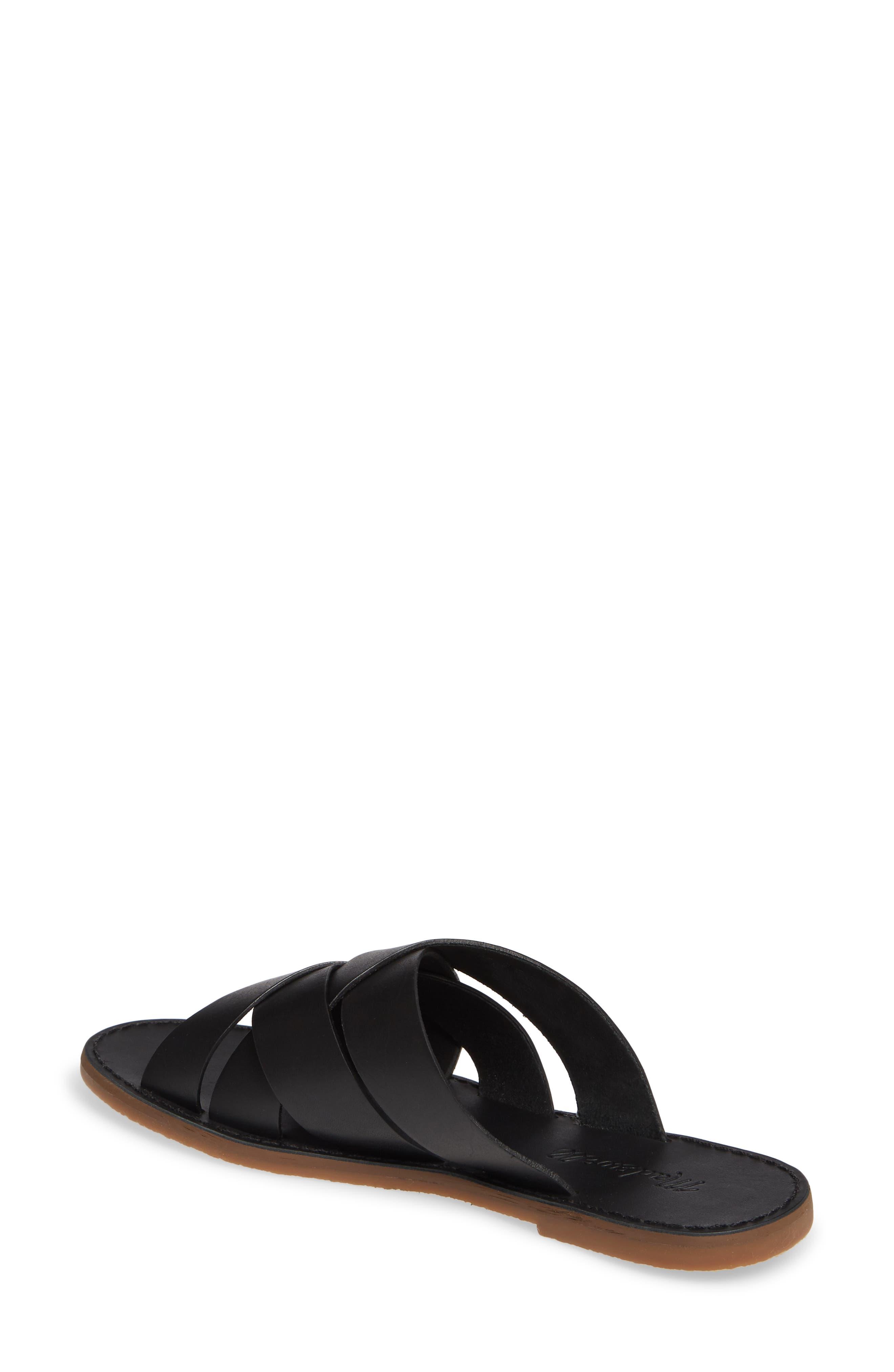 MADEWELL, The Boardwalk Woven Slide Sandal, Alternate thumbnail 2, color, TRUE BLACK