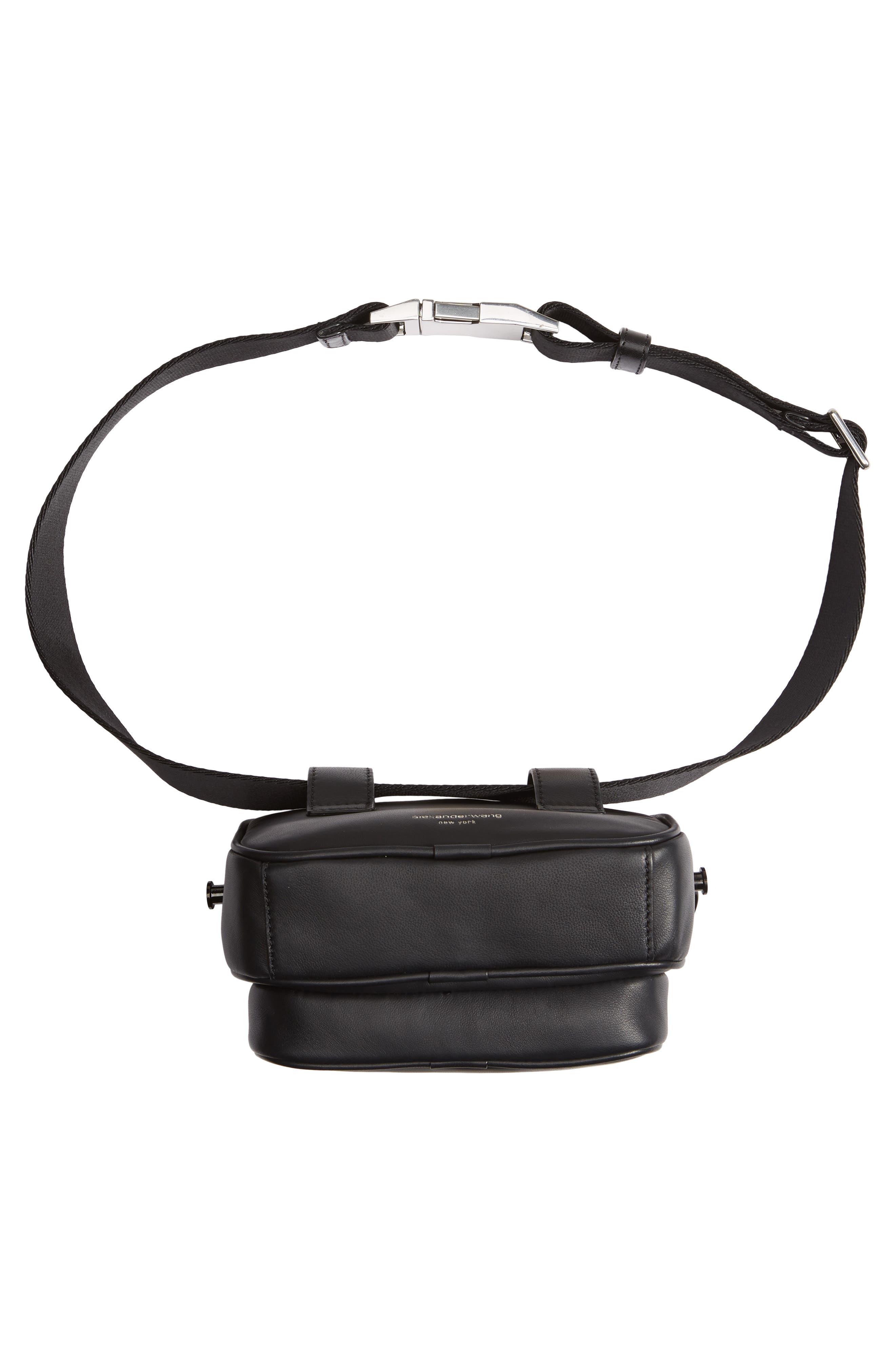 ALEXANDER WANG, Attica Logo Leather Belt Bag, Alternate thumbnail 8, color, BLACK