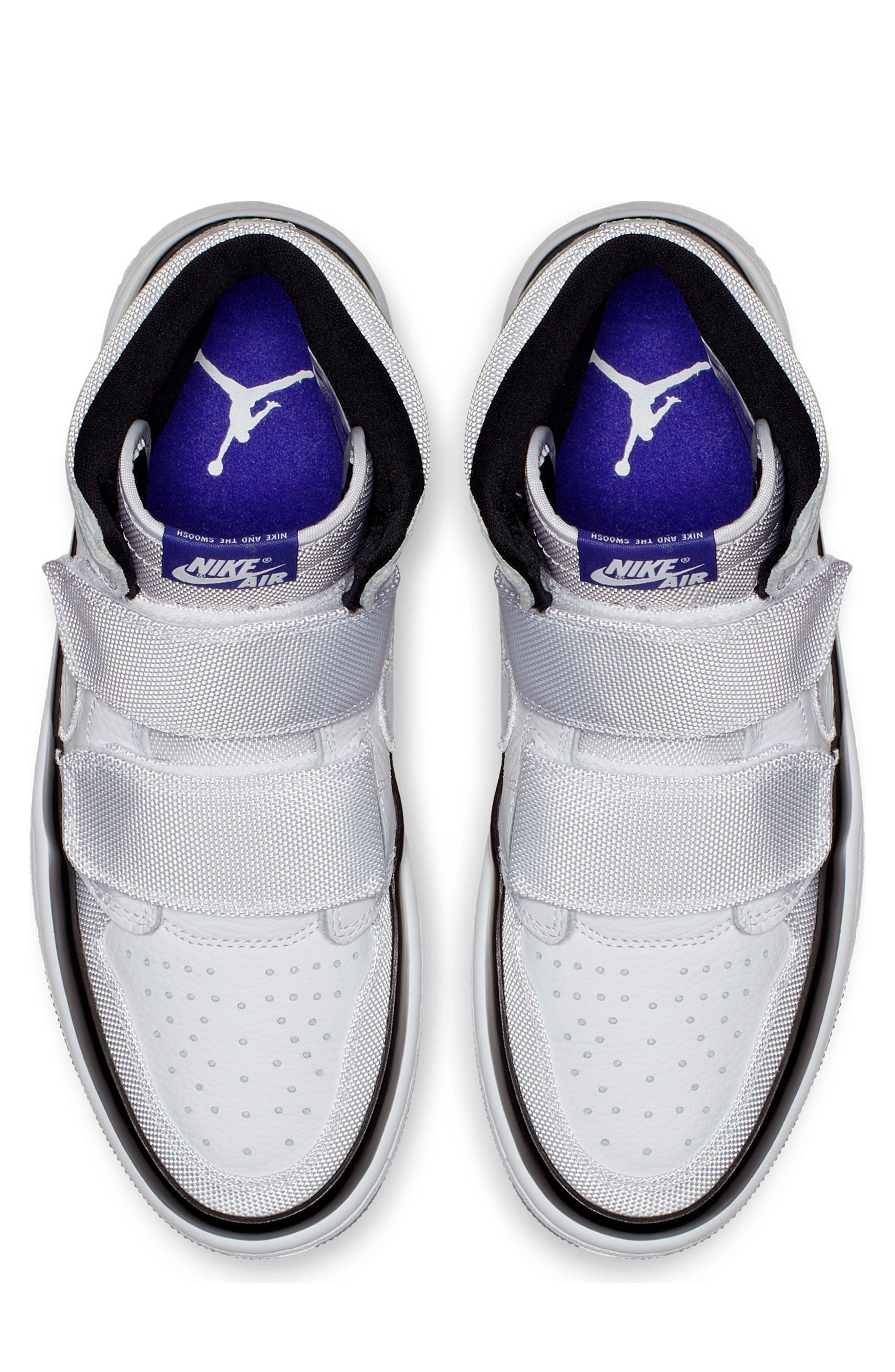 NIKE, Air Jordan 1 Retro High Double Strap Sneaker, Alternate thumbnail 3, color, WHITE/ DARK CONCORD/ BLACK
