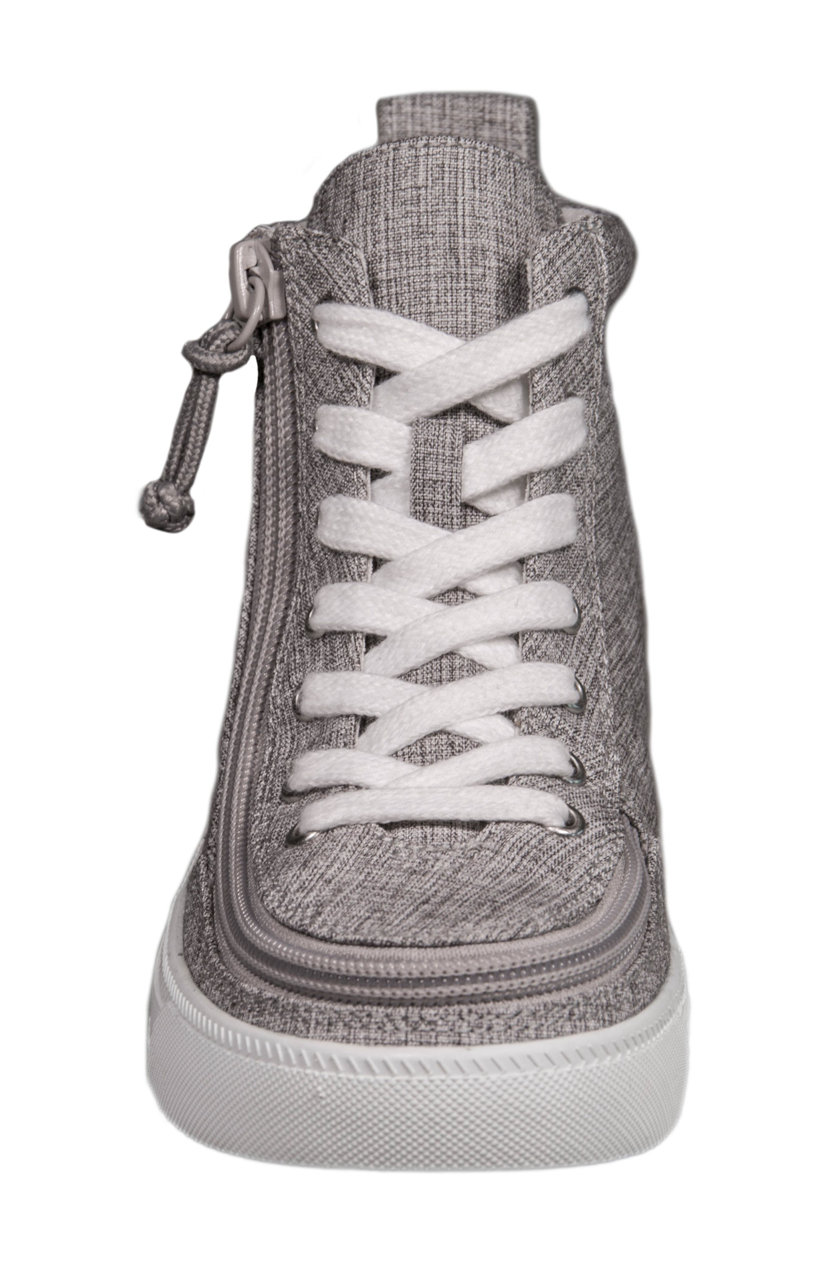 BILLY FOOTWEAR, Zip Around High Top Sneaker, Alternate thumbnail 3, color, GREY JERSEY