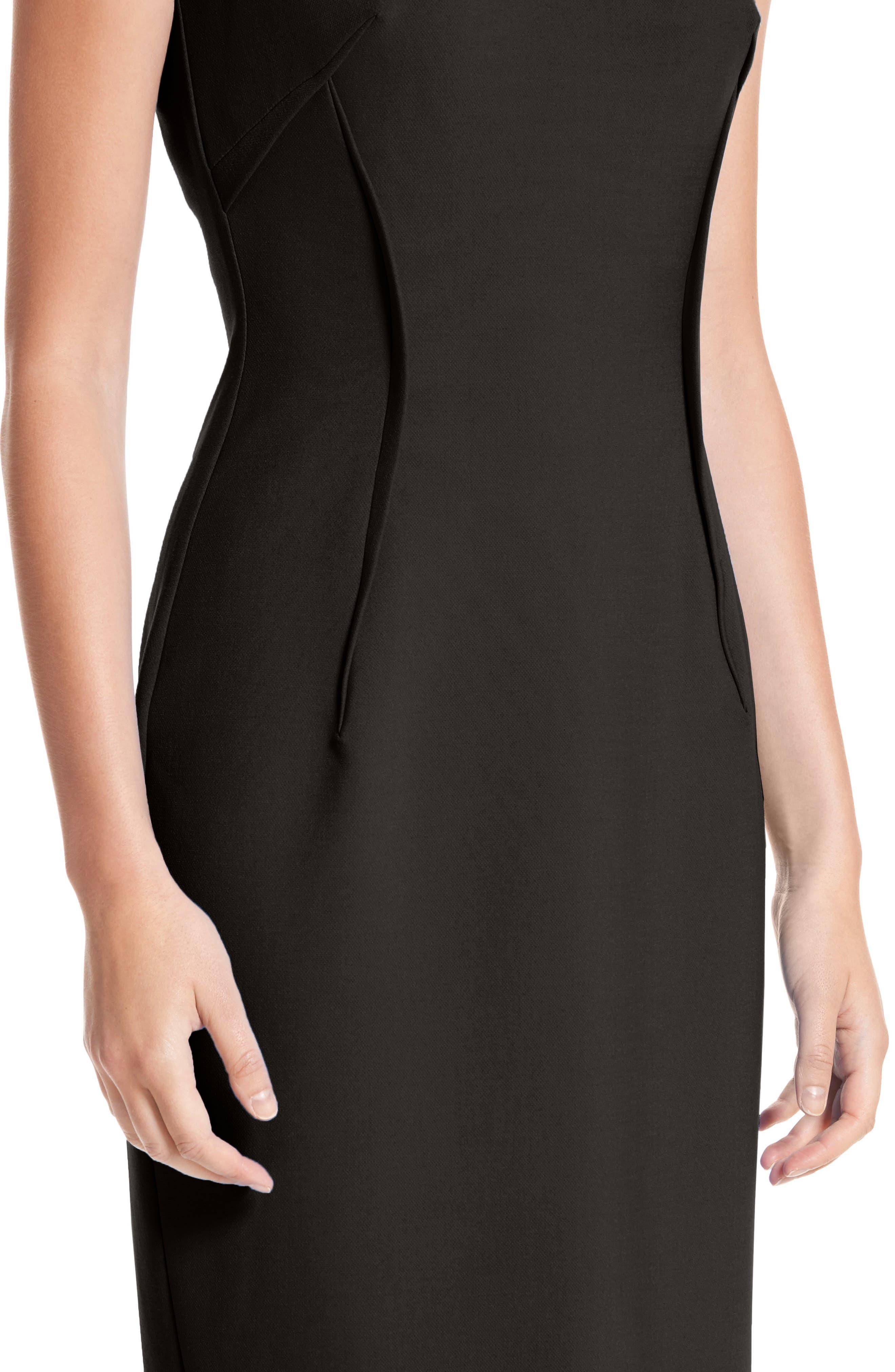 VERSACE COLLECTION, Stretch Cady Sheath Dress, Alternate thumbnail 4, color, BLACK