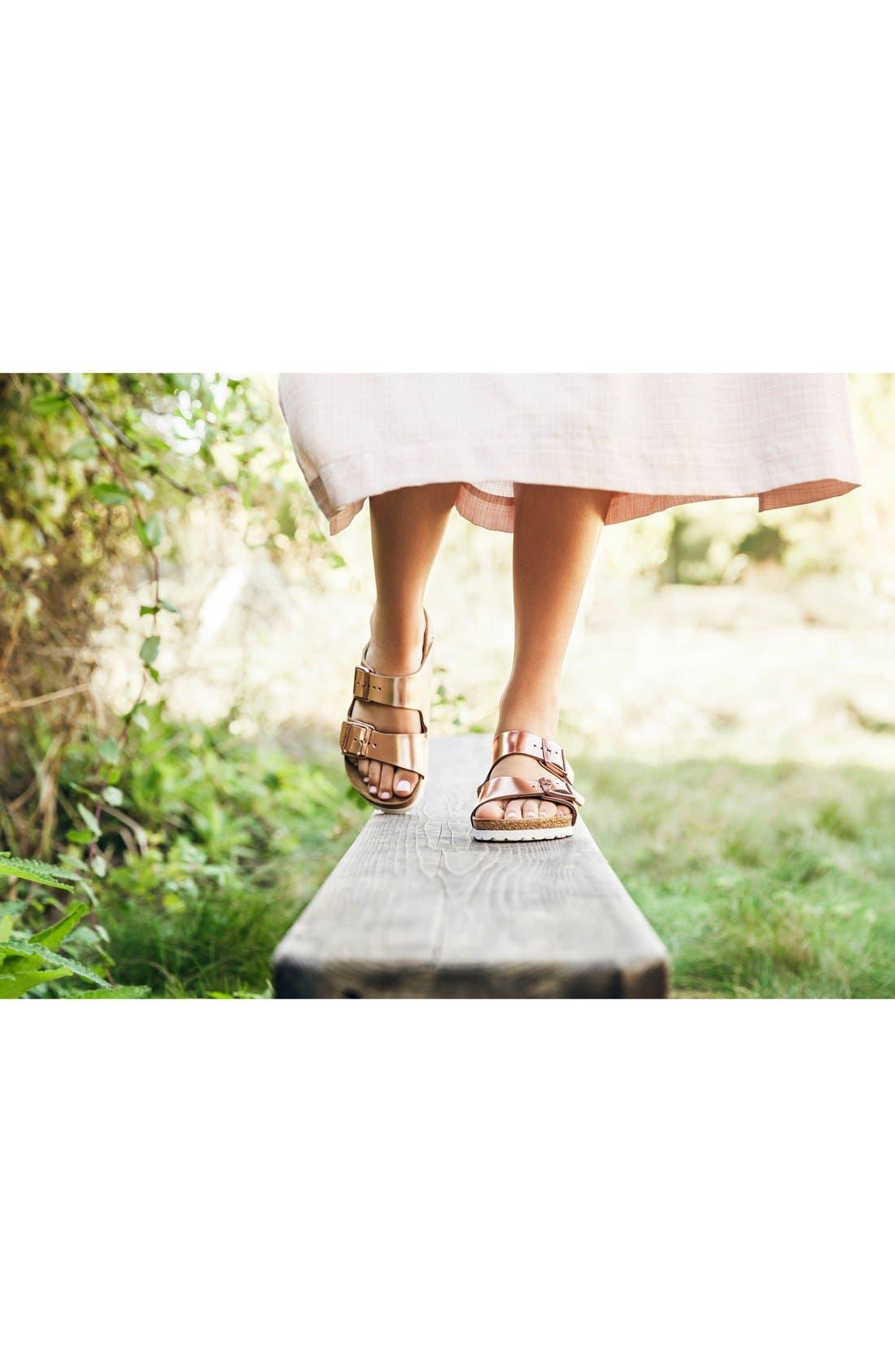 BIRKENSTOCK, Arizona Soft Footbed Sandal, Alternate thumbnail 7, color, BLACK/ BLACK