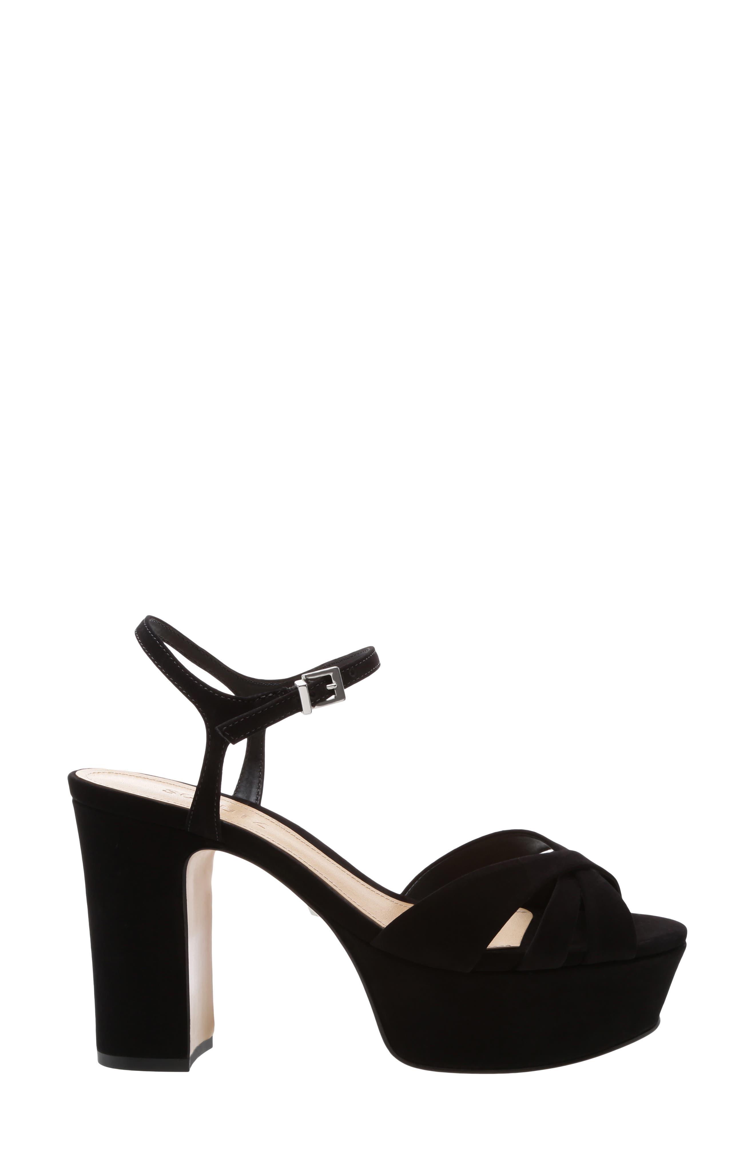 SCHUTZ, Keefa Platform Sandal, Alternate thumbnail 3, color, BLACK NUBUCK LEATHER