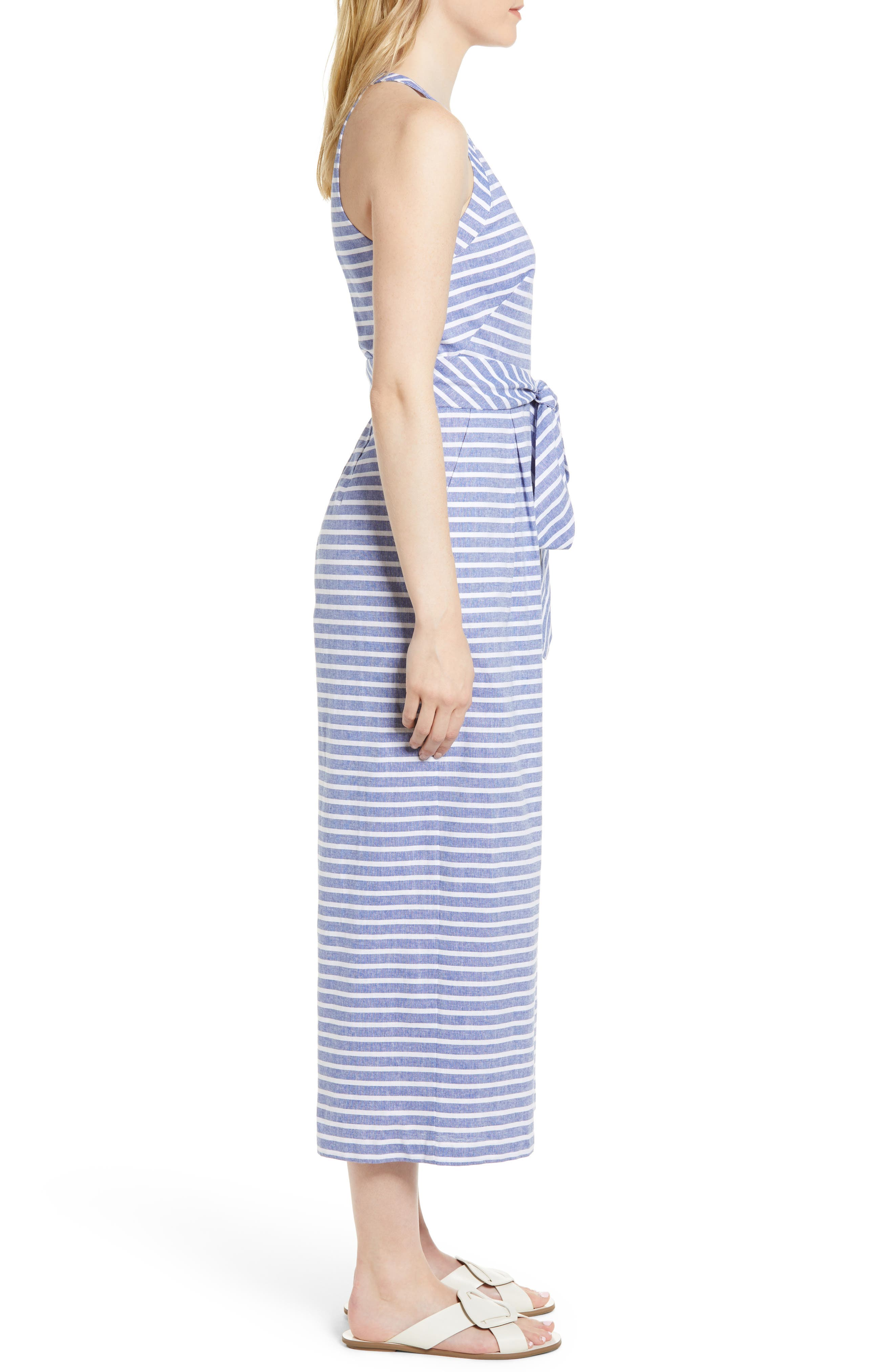 1901, Halter Neck Stripe Crop Jumpsuit, Alternate thumbnail 4, color, NAVY