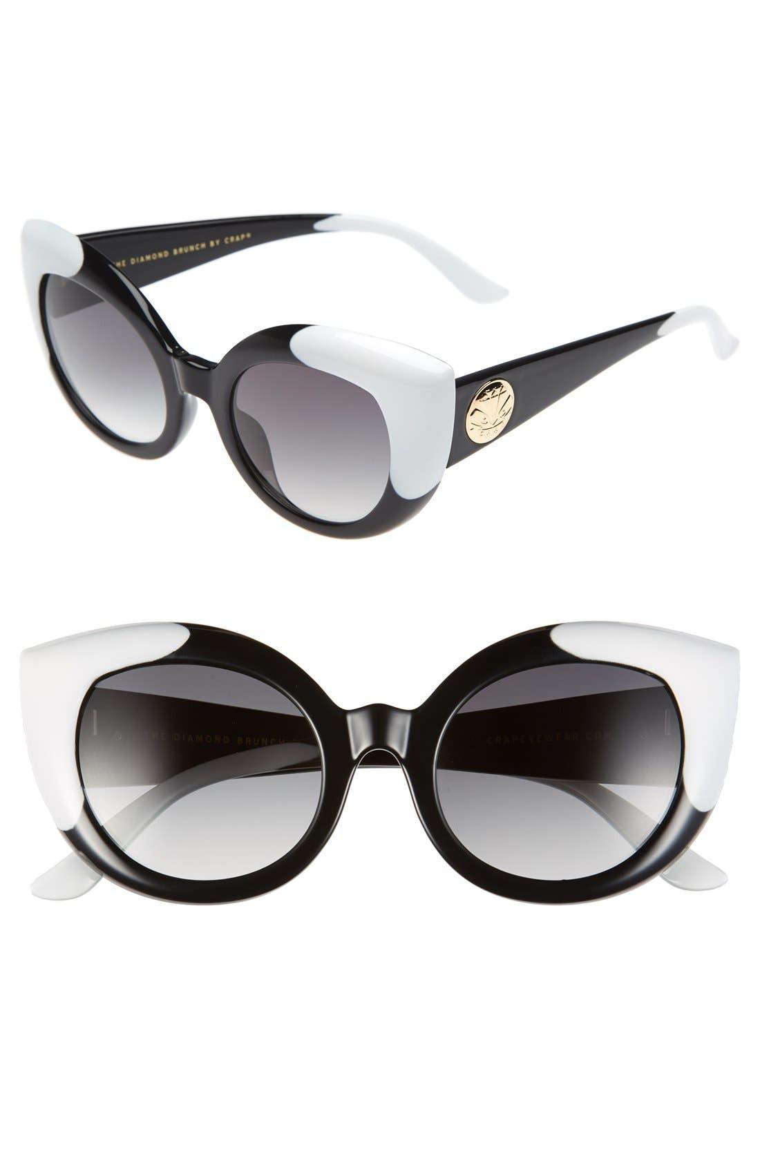CRAP EYEWEAR, 'The Diamond Brunch' 55mm Sunglasses, Main thumbnail 1, color, 001