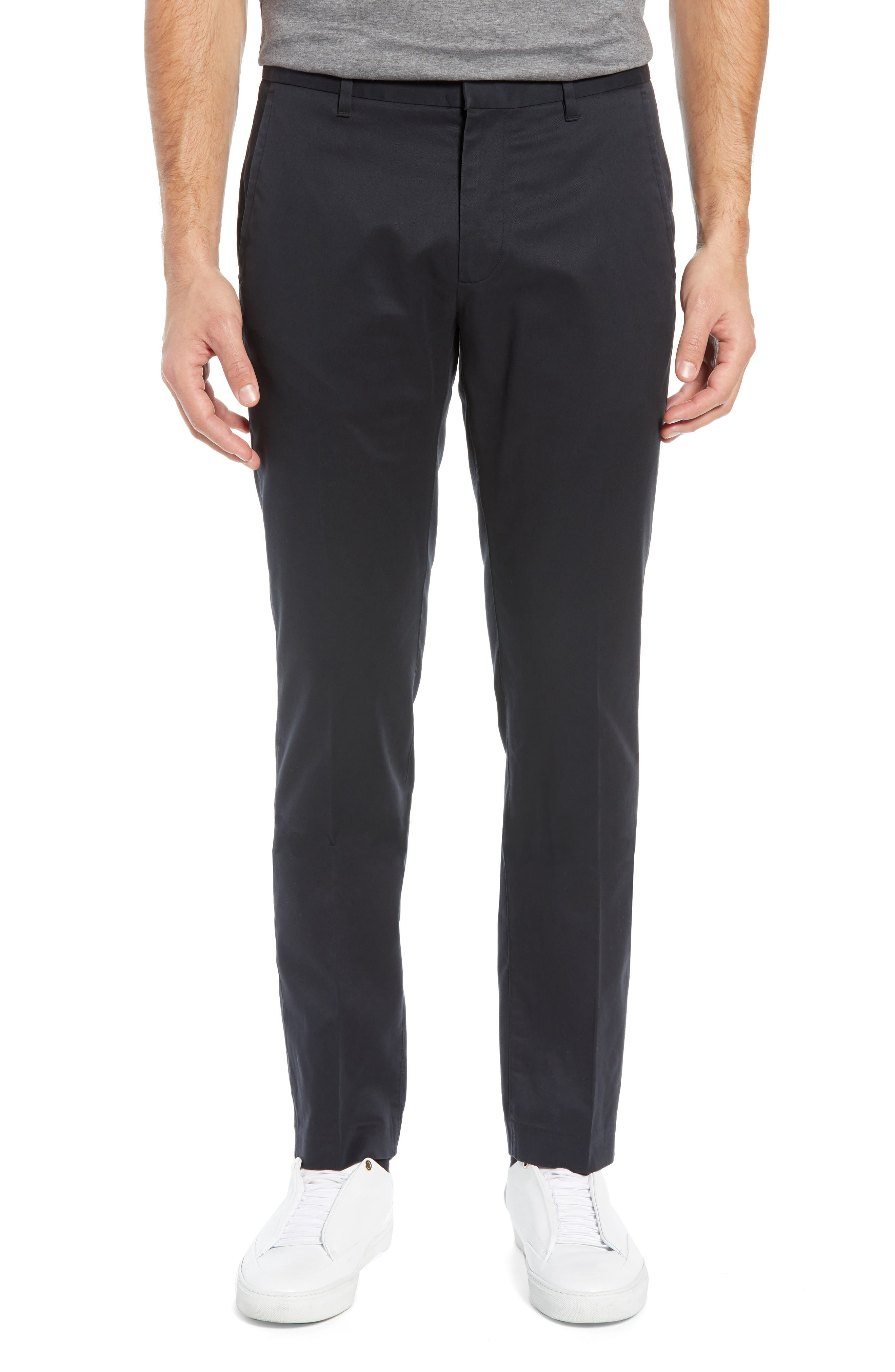 BONOBOS Weekday Warrior Tailored Fit Stretch Dress Pants, Main, color, BLACK