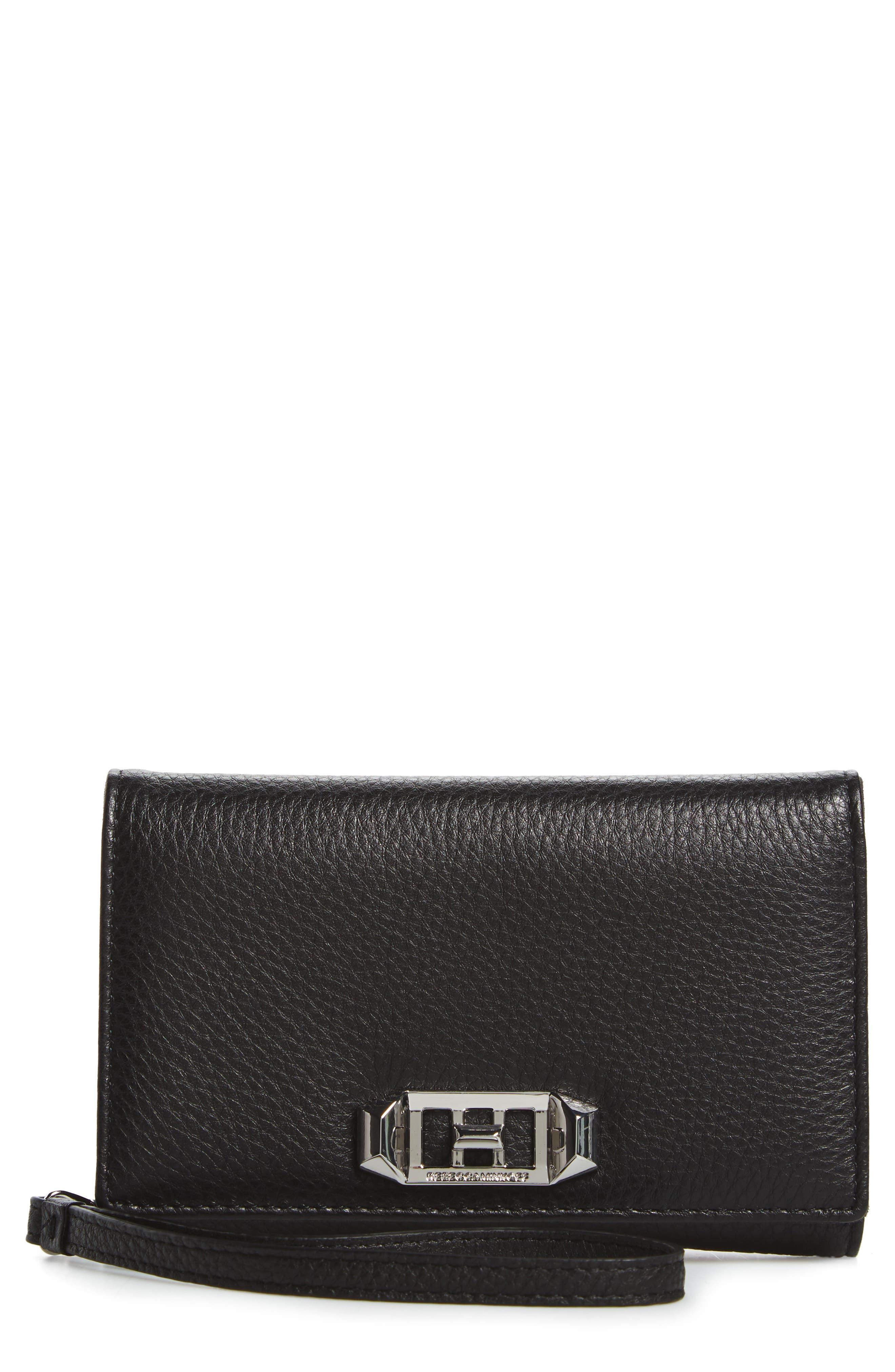 REBECCA MINKOFF Love Lock iPhone X/Xs Leather Wristlet Folio, Main, color, 001