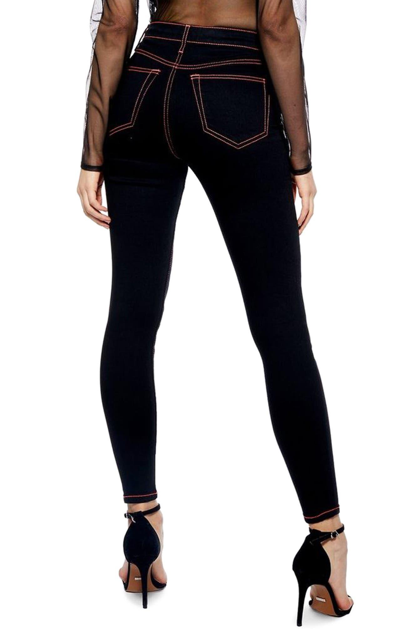 TOPSHOP, Jamie Neon Stitch High Waist Ankle Skinny Jeans, Alternate thumbnail 2, color, BLACK MULTI