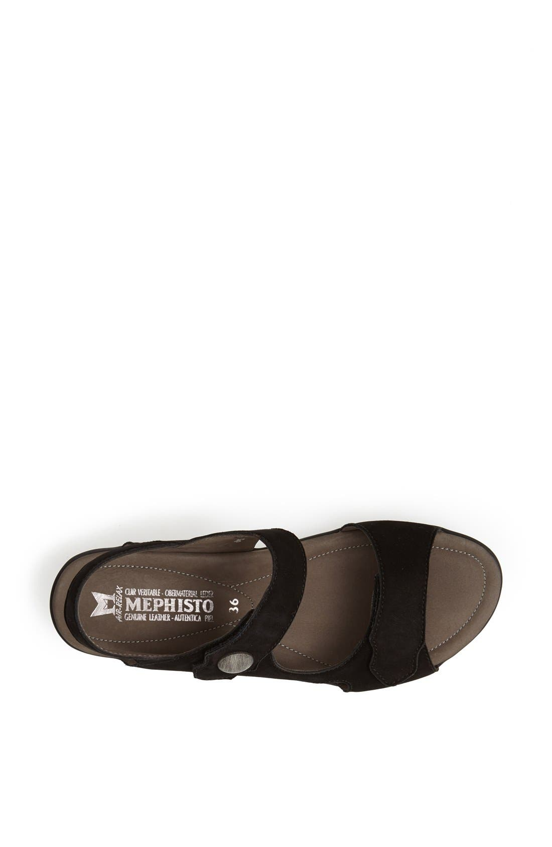 MEPHISTO, 'Prudy' Leather Sandal, Alternate thumbnail 3, color, BLACK NUBUCK LEATHER