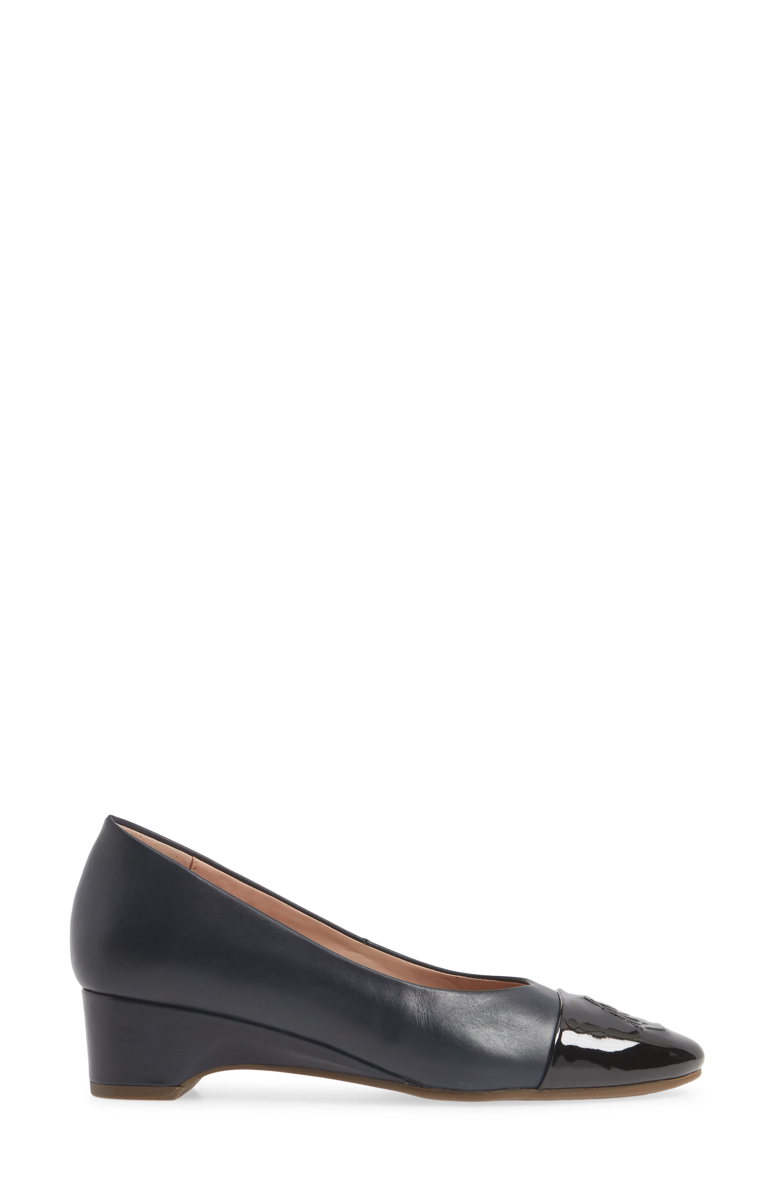 TARYN ROSE, Babe Cap Toe Pump, Alternate thumbnail 3, color, MIDNIGHT/ BLACK LEATHER