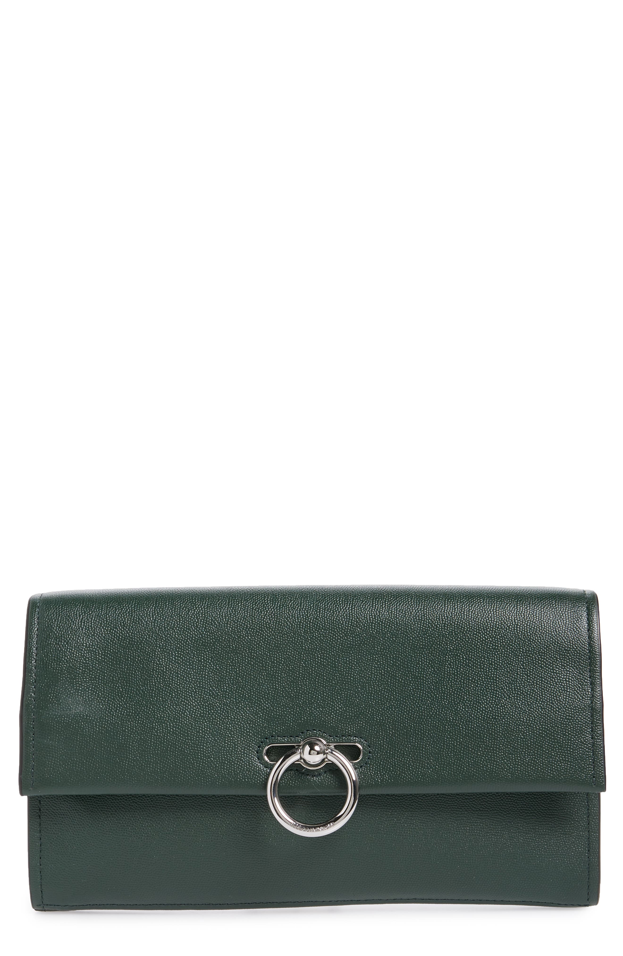 REBECCA MINKOFF, Jean Leather Clutch, Main thumbnail 1, color, 303
