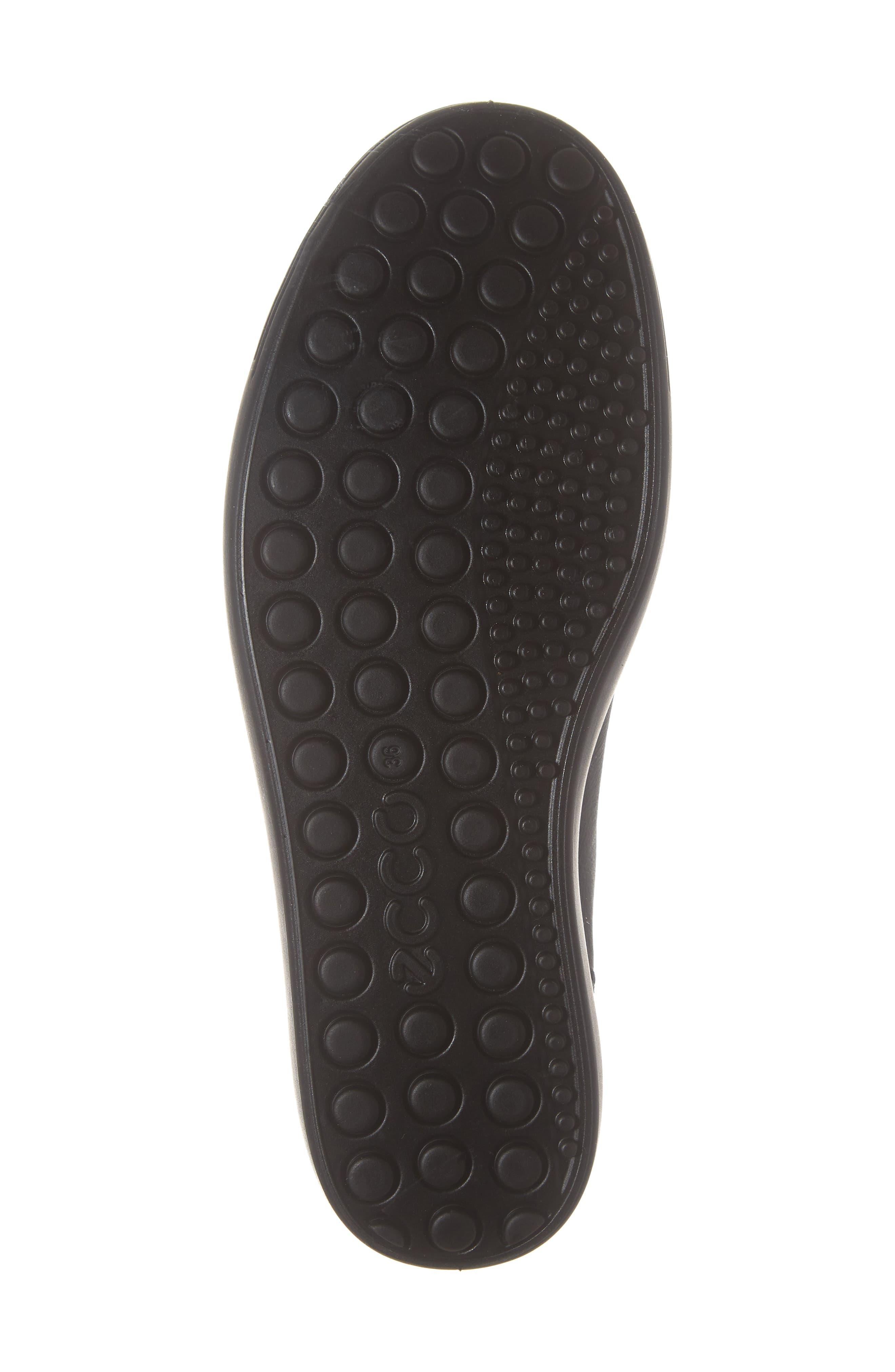 ECCO, Soft 7 Mid Top Sneaker, Alternate thumbnail 6, color, BLACK/ BLACK LEATHER